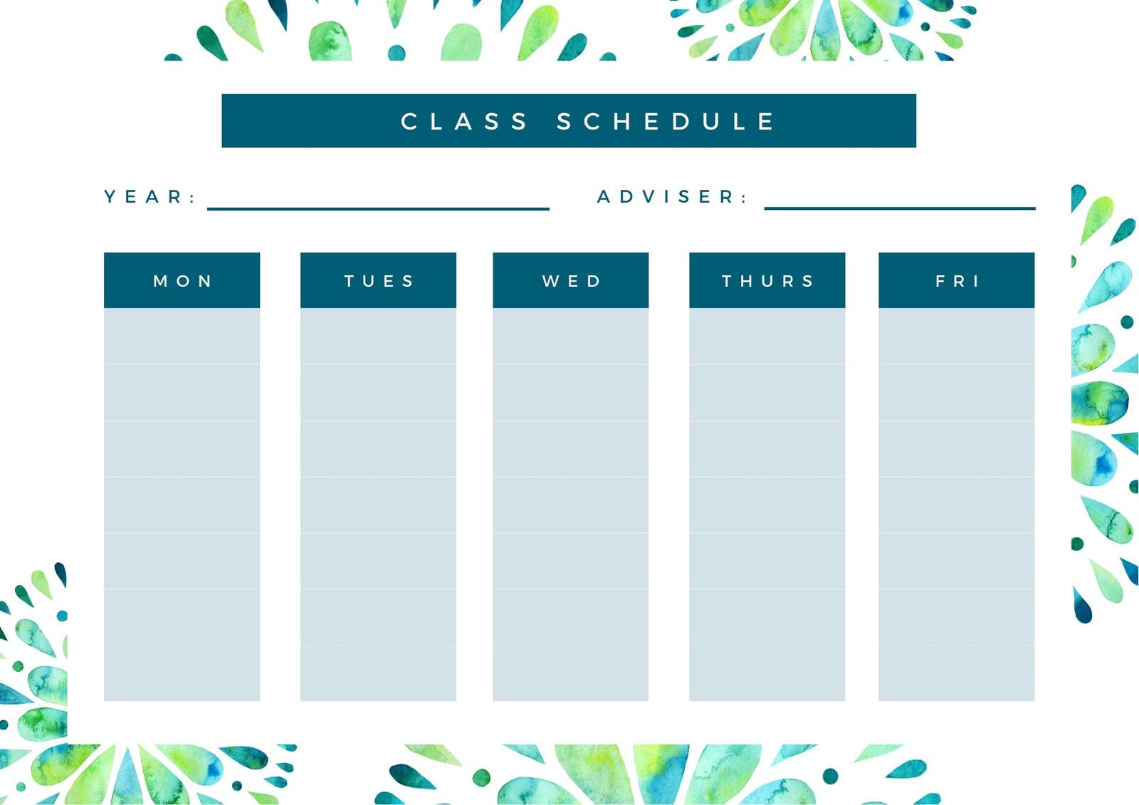 White Blue Green Class Schedule