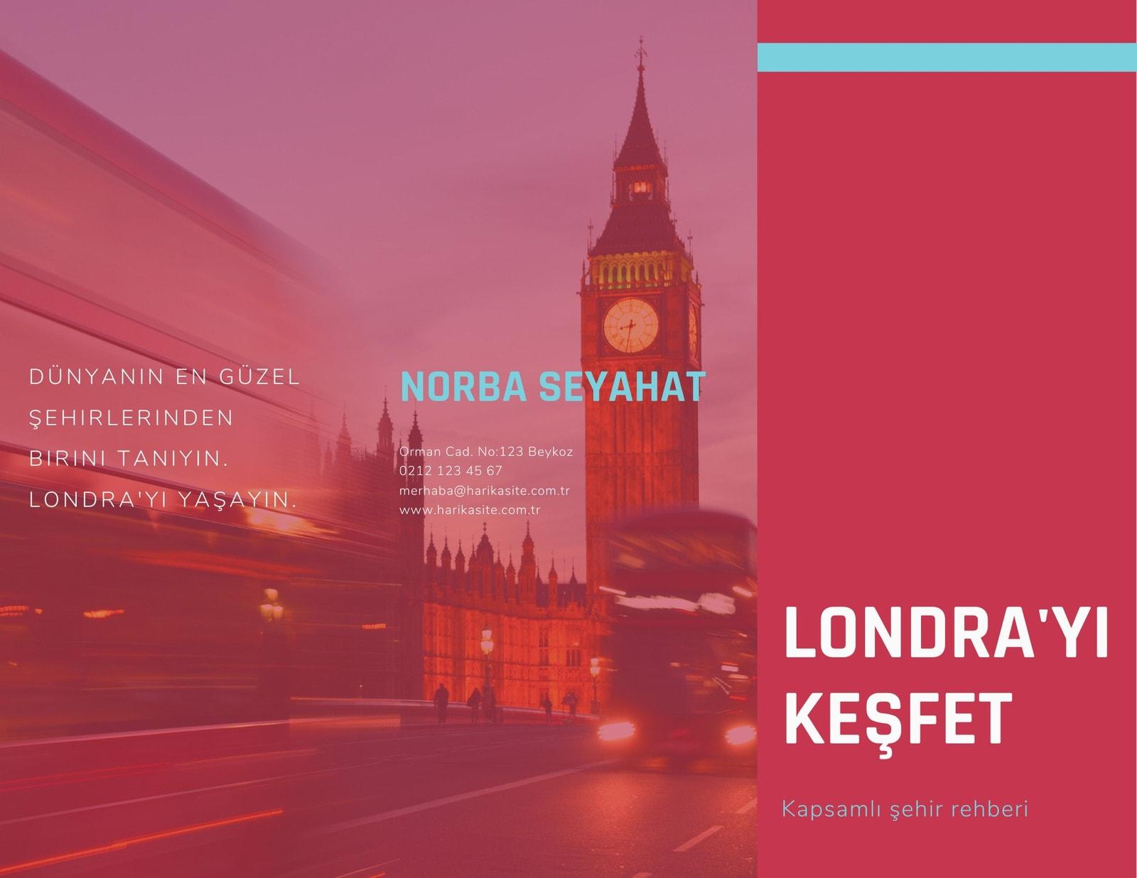 Kırmızı Londra Fotoğrafları Seyahat Broşür