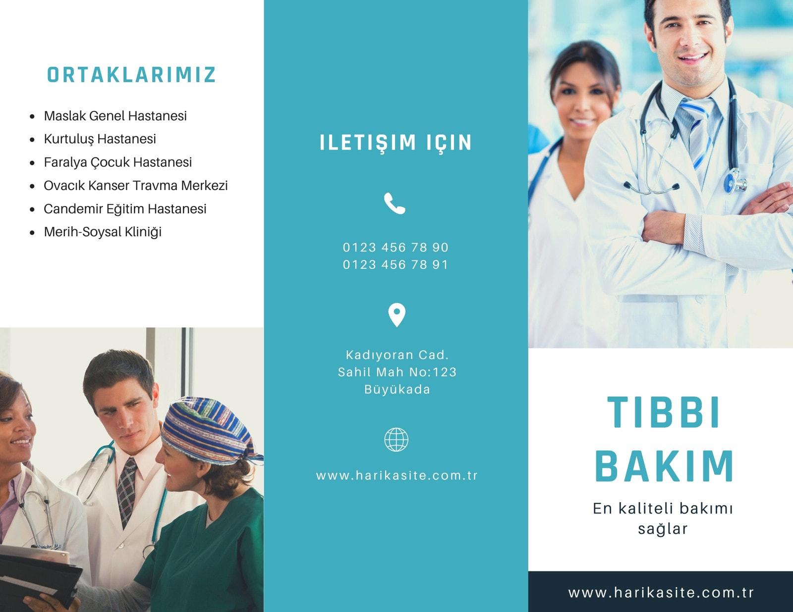 Mavi Fotoğraf Tıbbi Üç Katlı Broşür