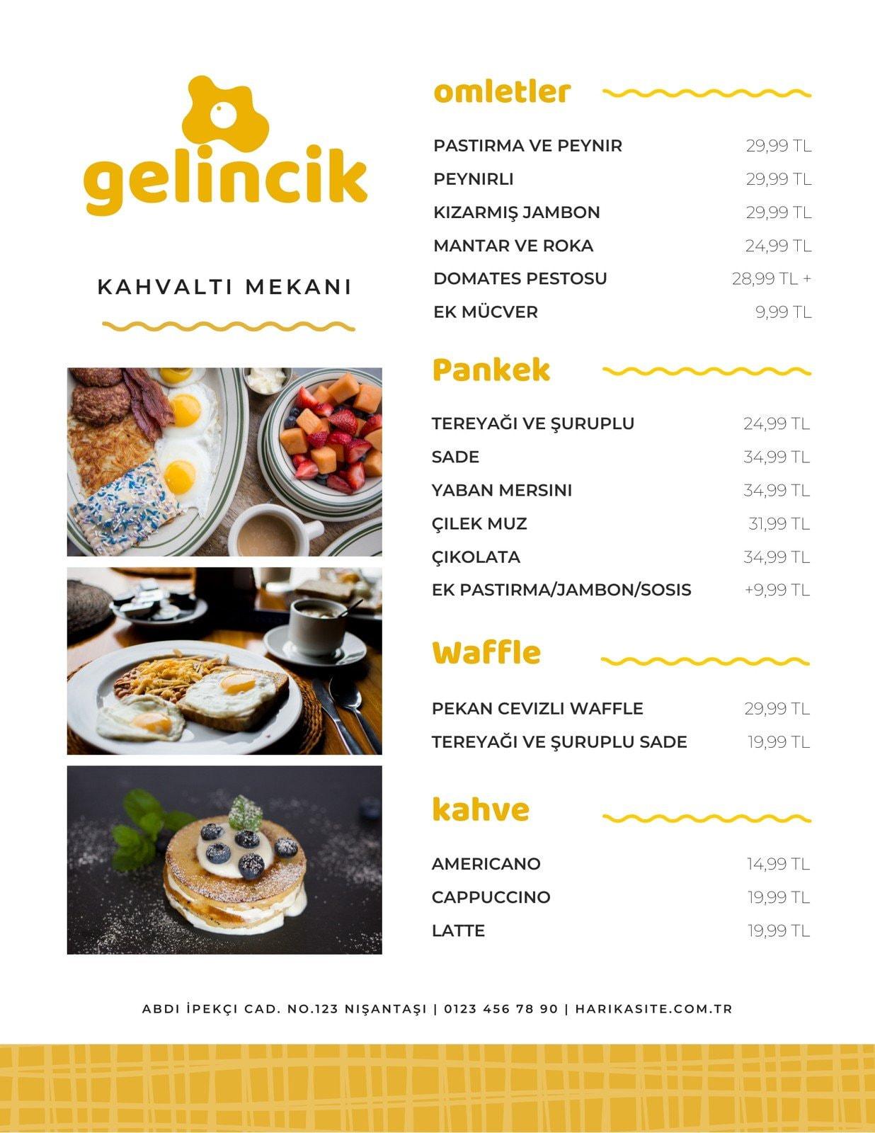 Sarı Örgülü Mutlu Kahvaltı Yumurtalar Restoran Menü