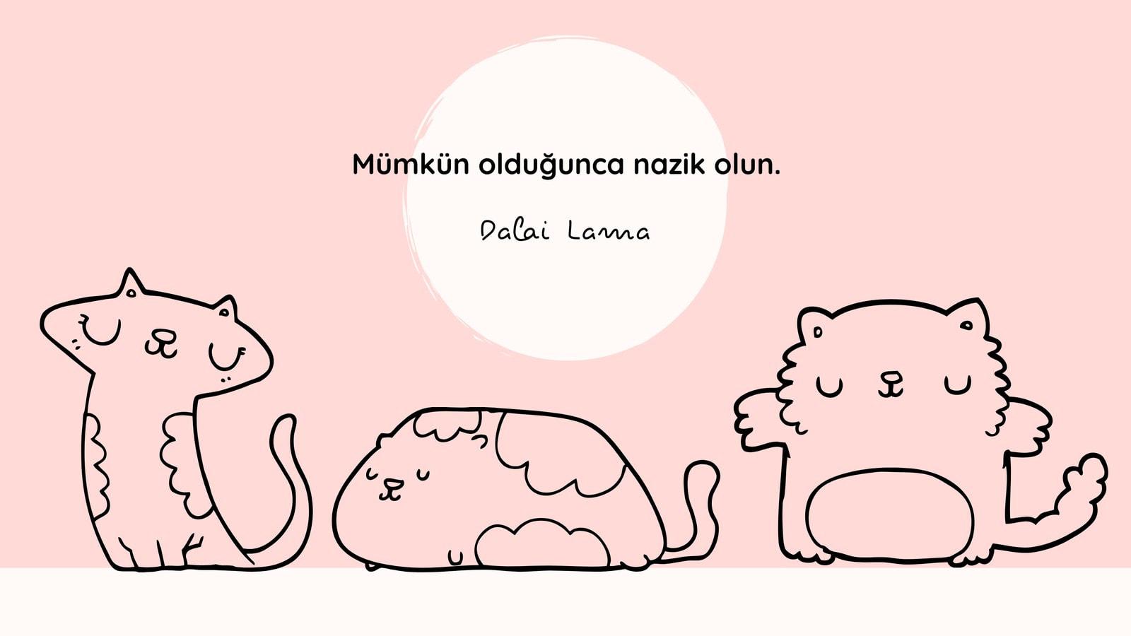 Pembe Yavru Kedi Çizimleri Şirin Masaüstü Duvar Kağıdı