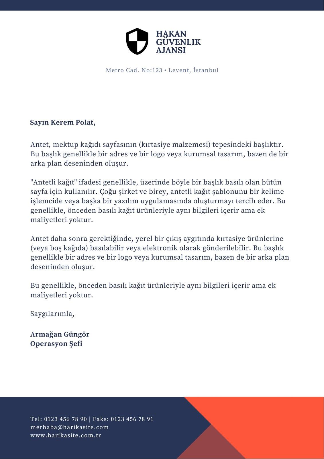 Turuncu ve Mavi Güvenlik Resmi Antetli Kağıt