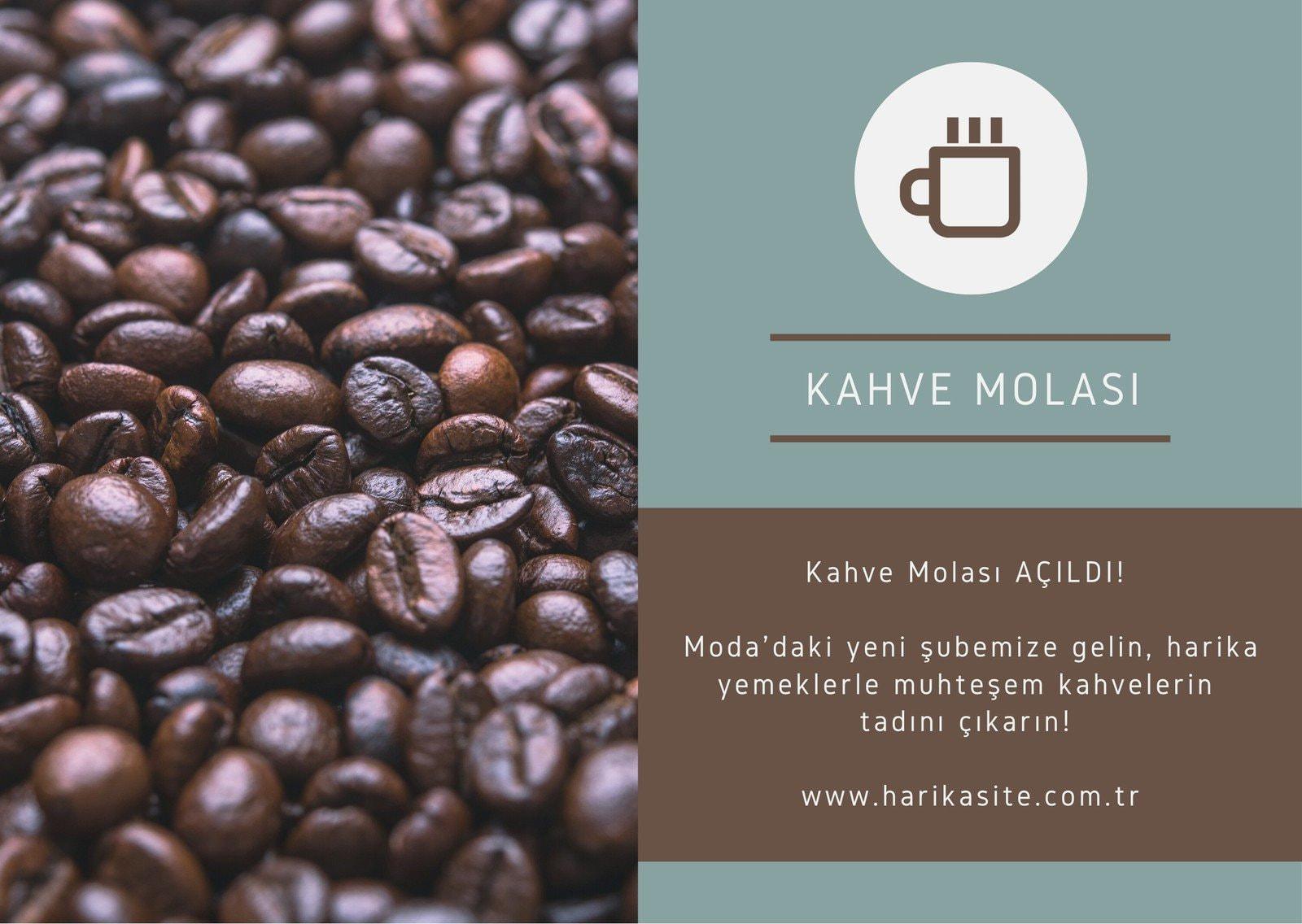 Kahve Molası Mavi ve Kahverengi Doğrudan Posta Kartpostal