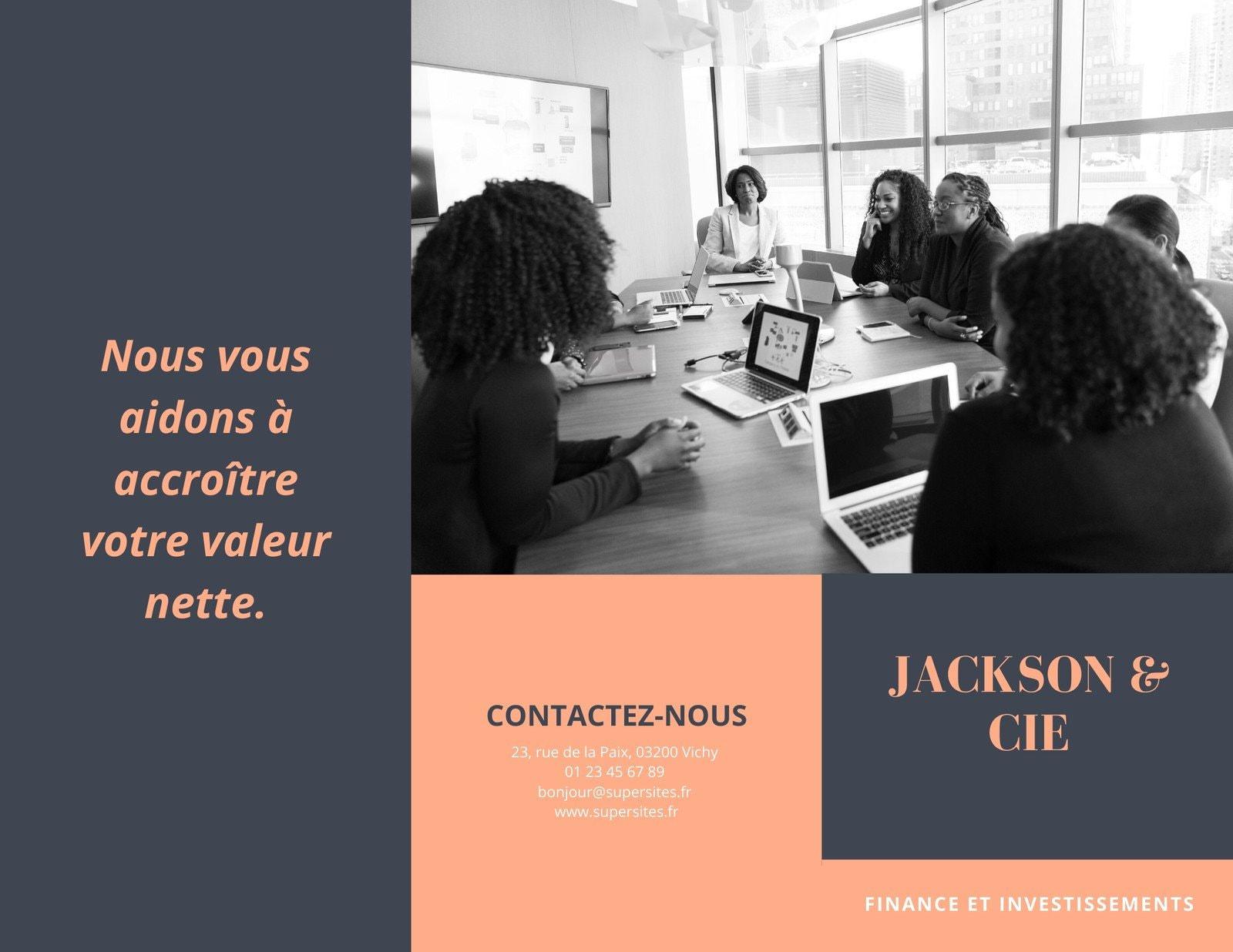 Orange et Gris Photo Entreprise Dépliant Brochure