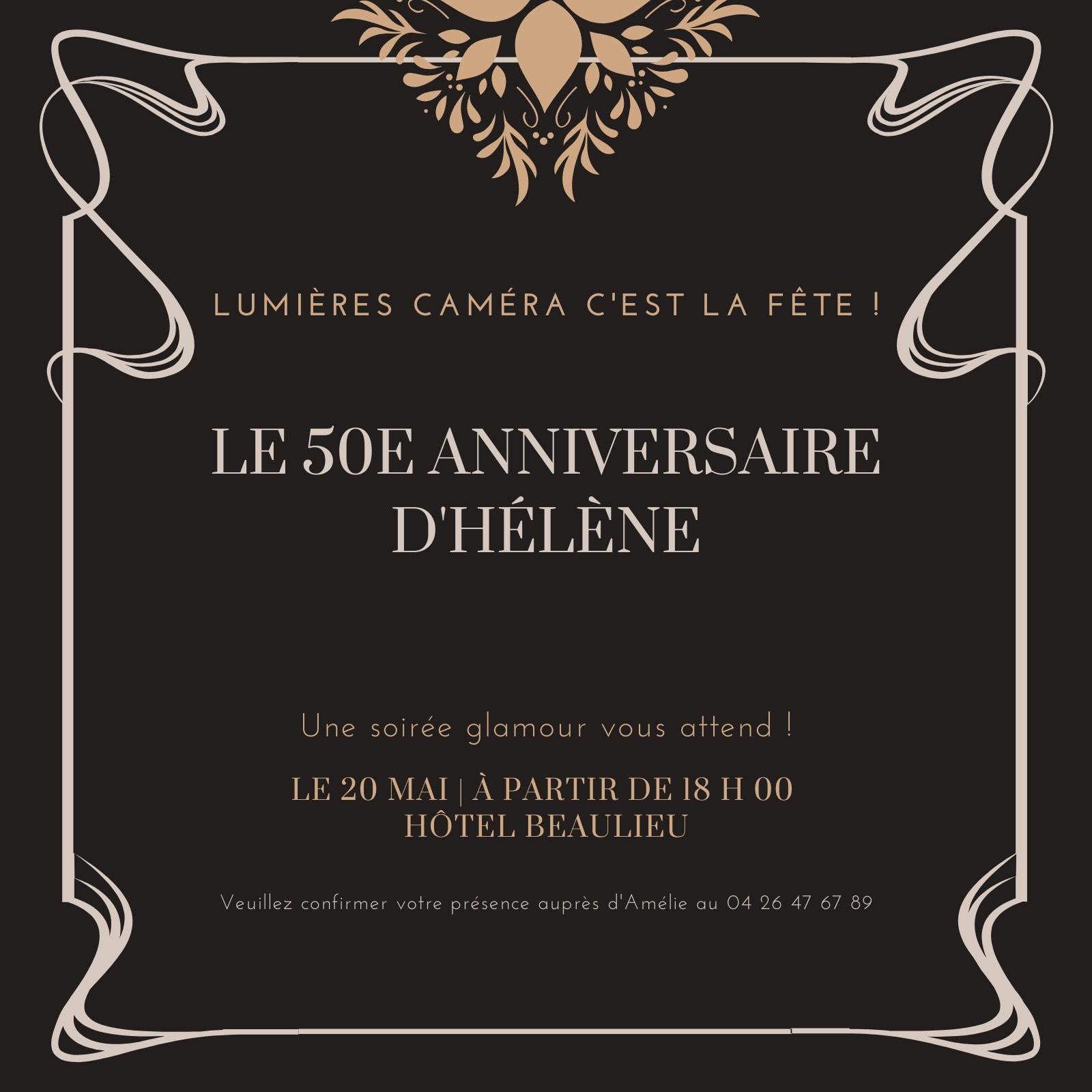 Marron et Noir Glamour Fête Invitation