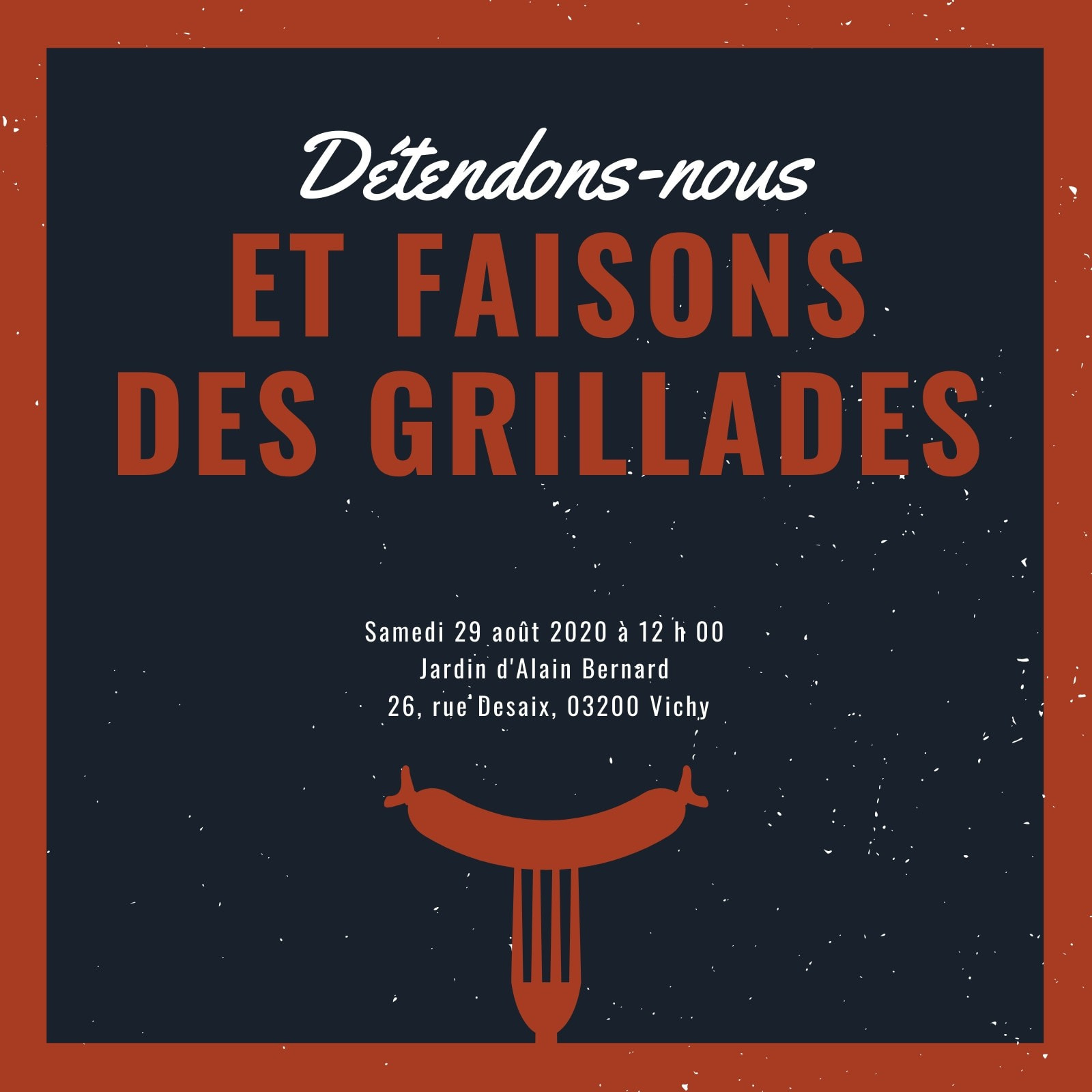 Rouge et Gris Foncé Saucisse sur une Fourchette Icône BBQ Invitation