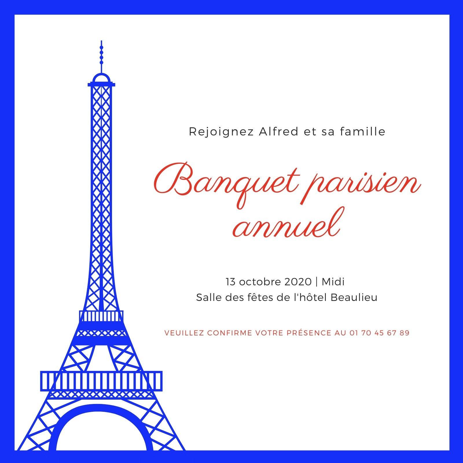 Blanc avec Rouge Tour Eiffel Illustration Français Banquet Invitation