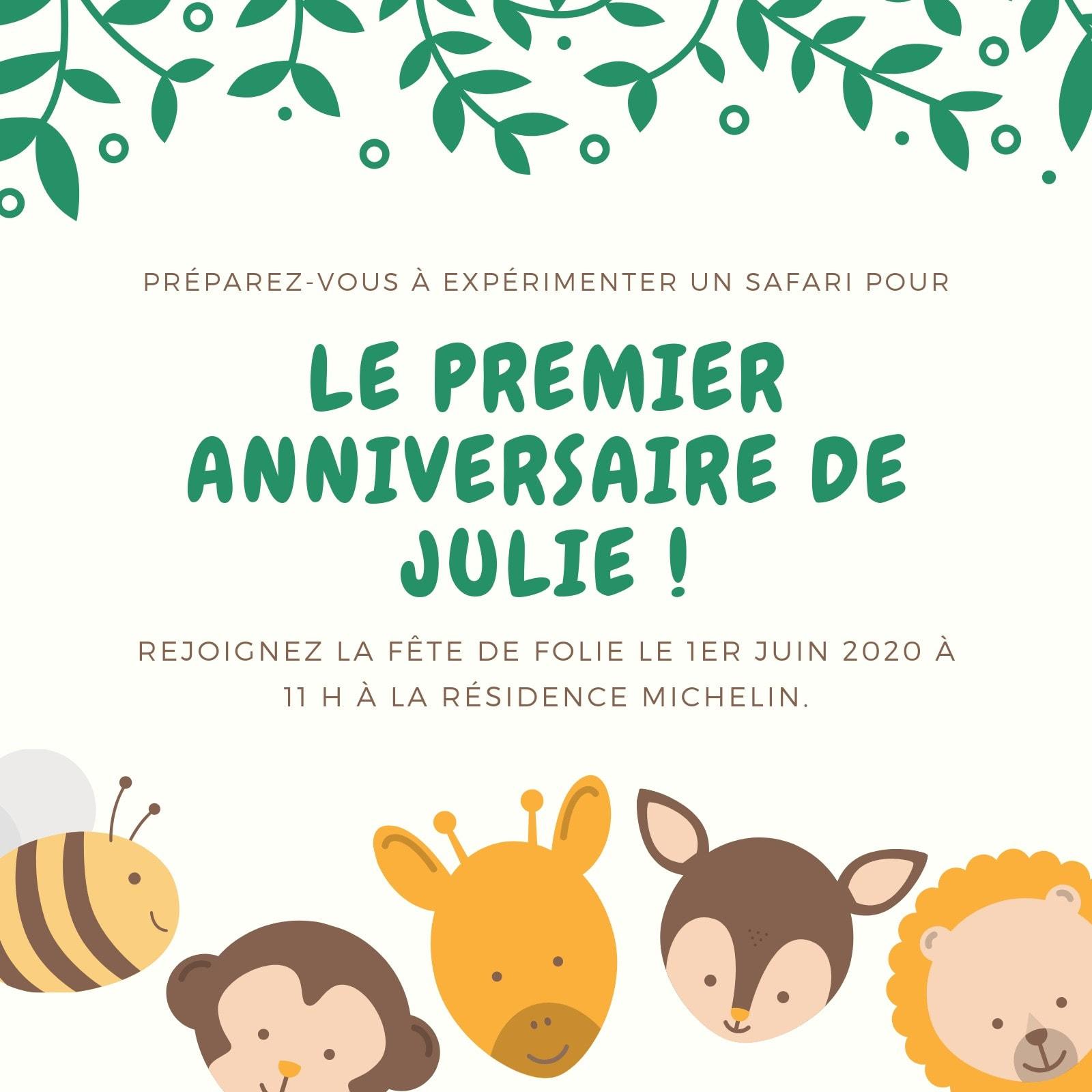 Crème et Crème Zoo Animaux Bébé Anniversaire Invitation