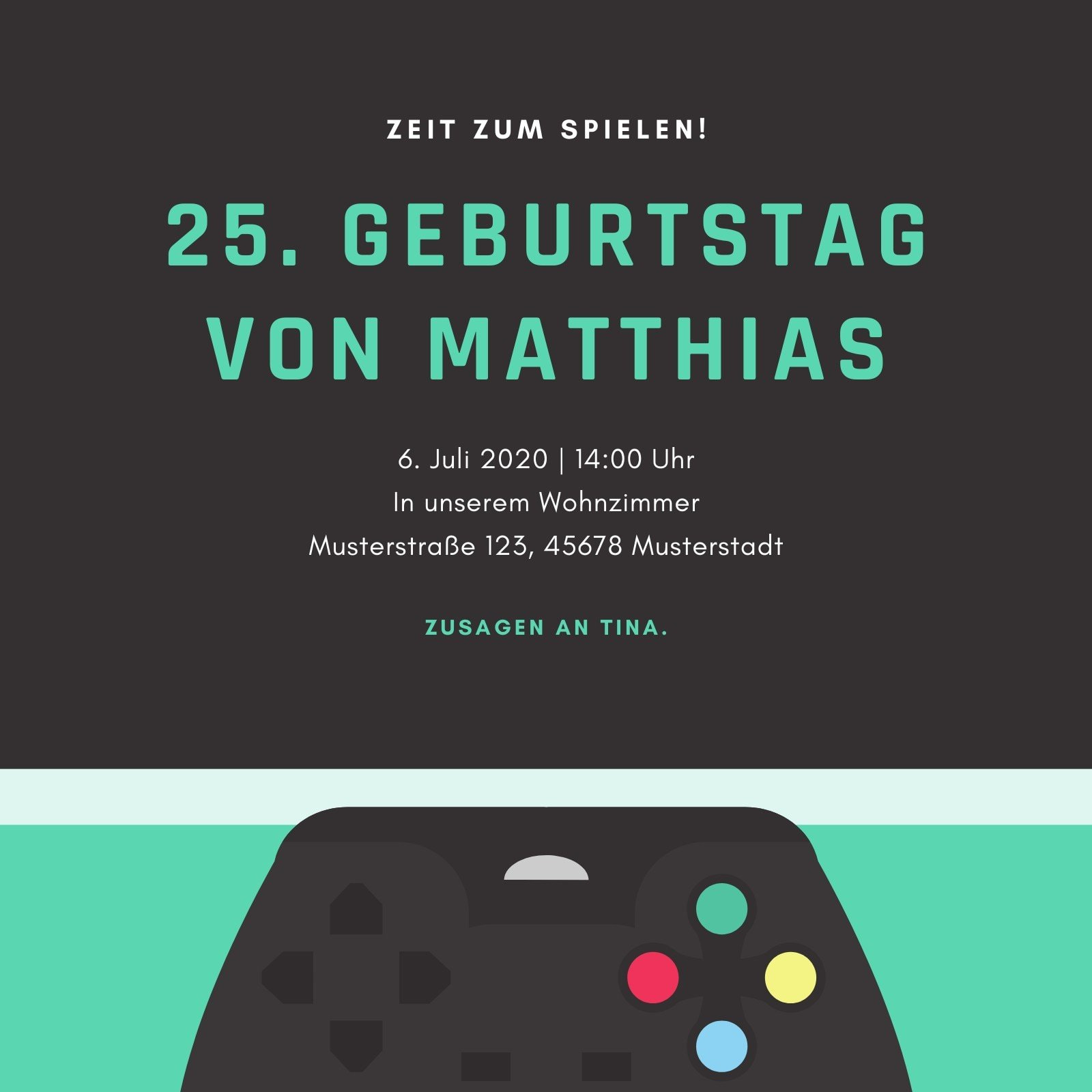 Blaugrün Spiel Controller 25. Geburtstagsparty Einladung