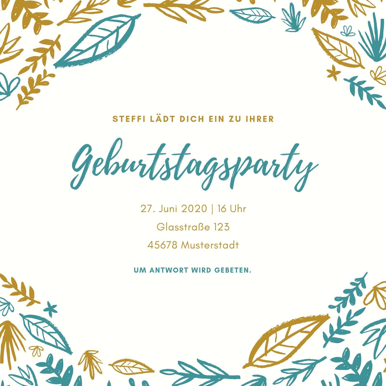 Gold und blaugrün Blätter Geburtstag Einladung