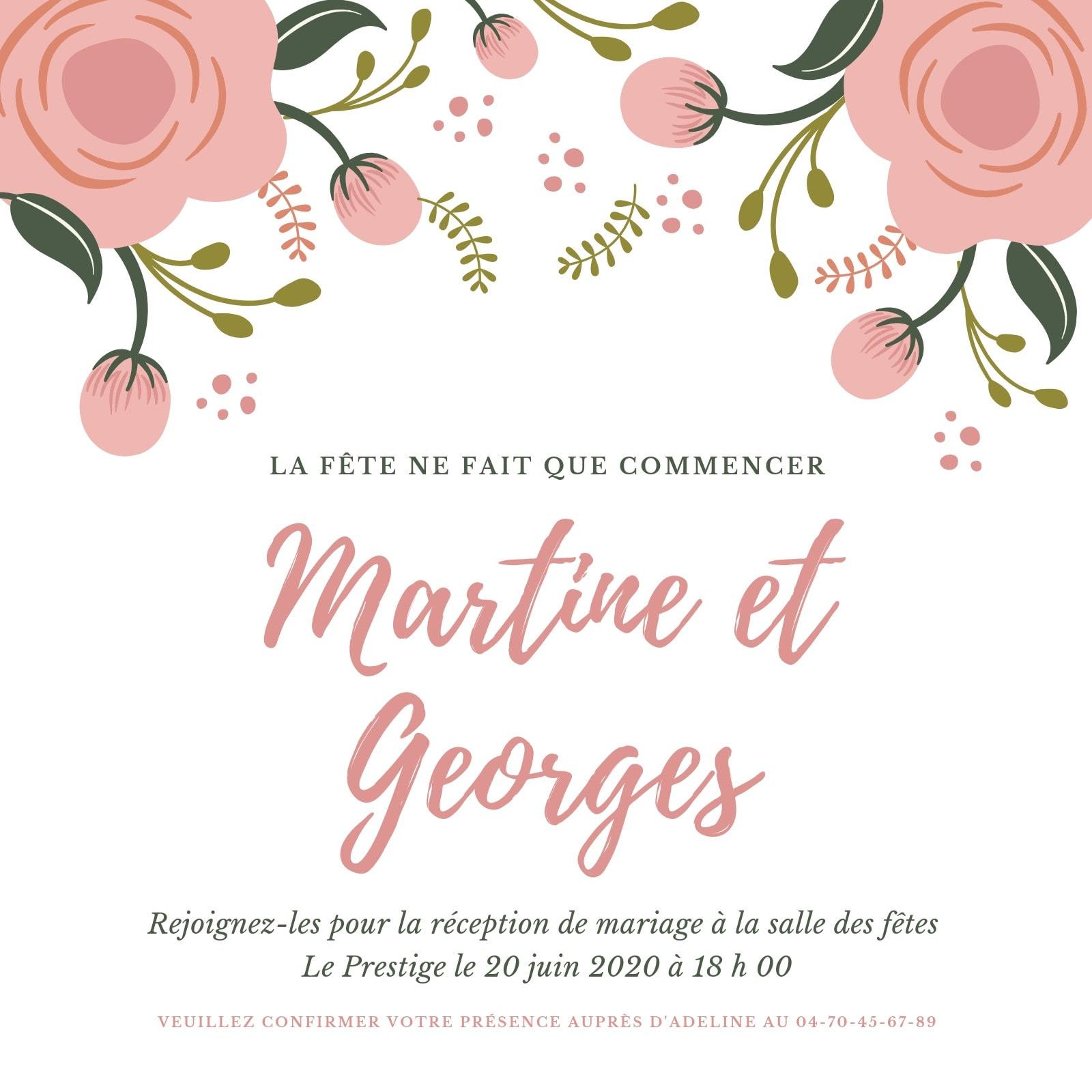 Rose et Blanc Floral Mariage Réception Invitation