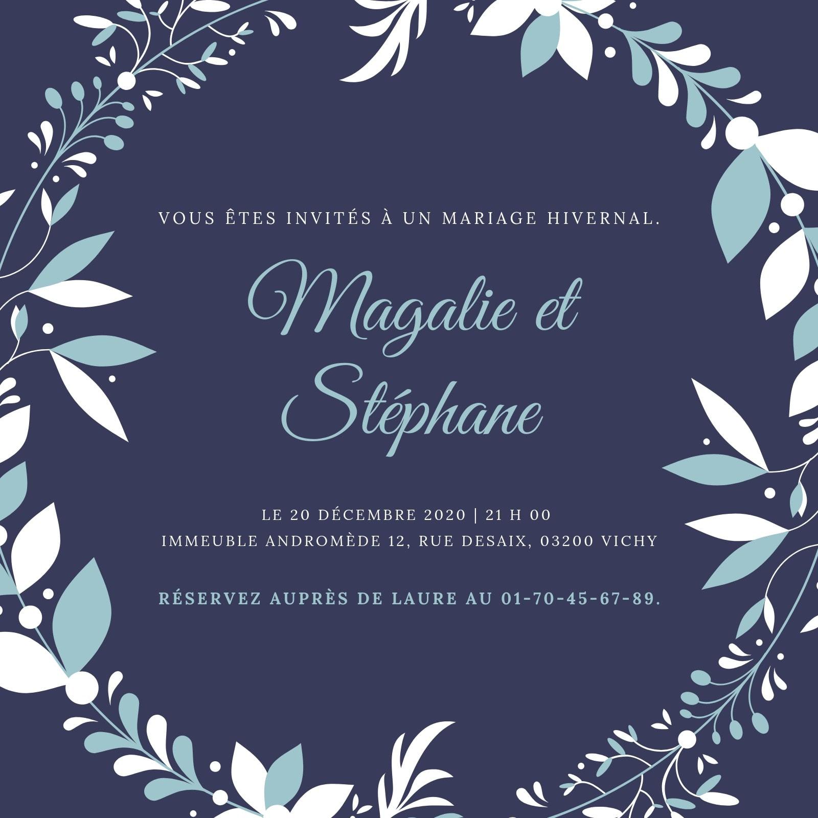 Violet Couronne Hivernal Mariage Invitation