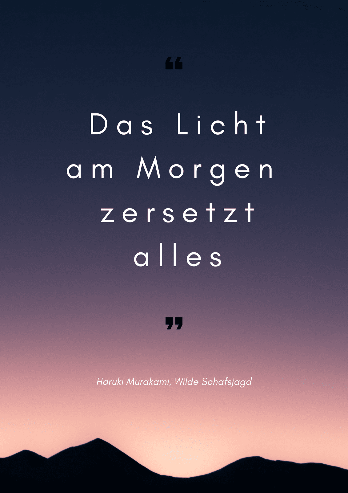 Rosa Sonnenaufgang Foto Zitat Poster