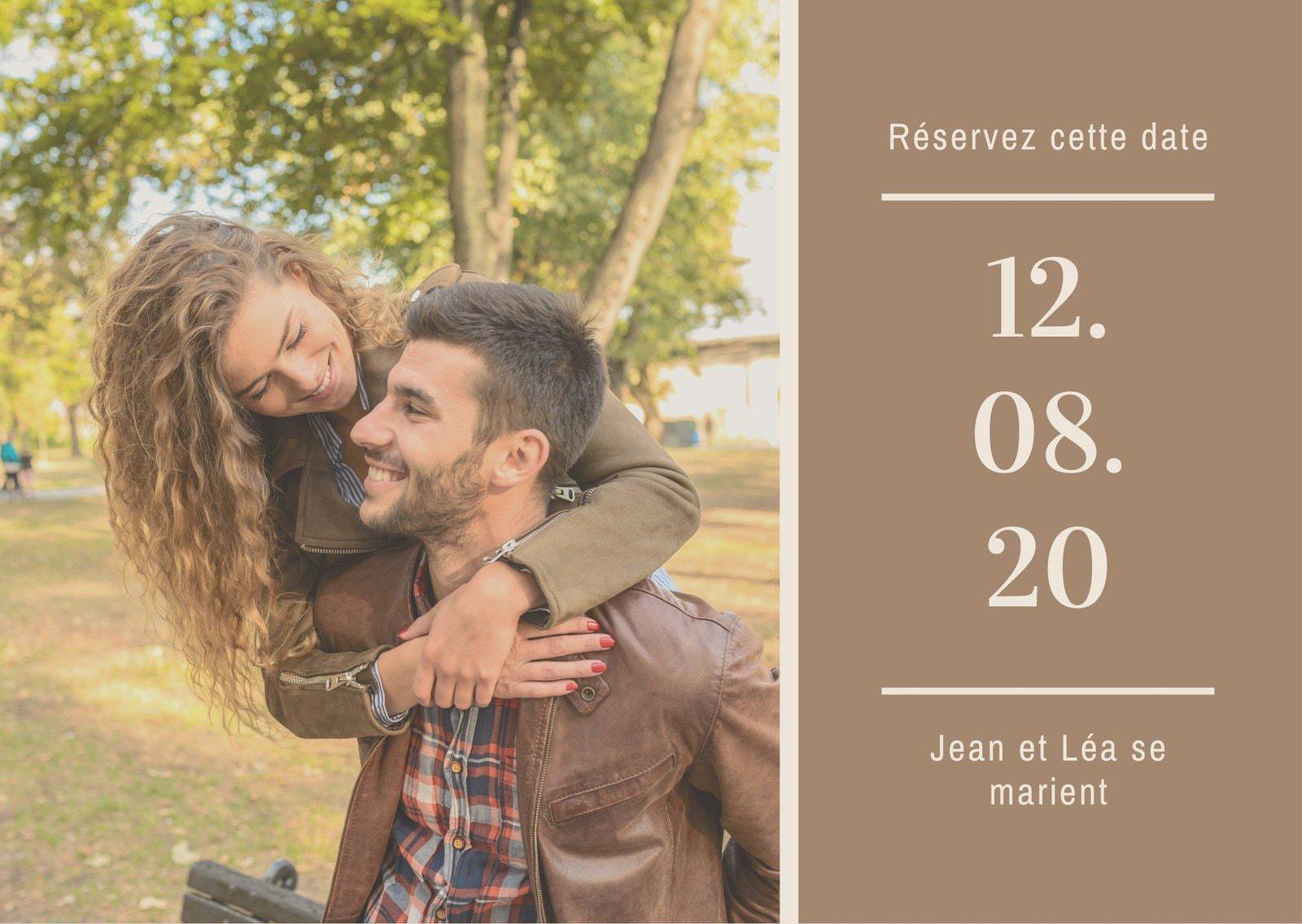Crème et Marron Notez la date Carte postale