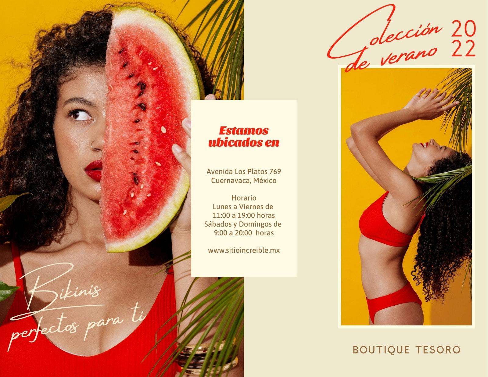 Rojo y Beige Bikini Fashion Simple Tríptico