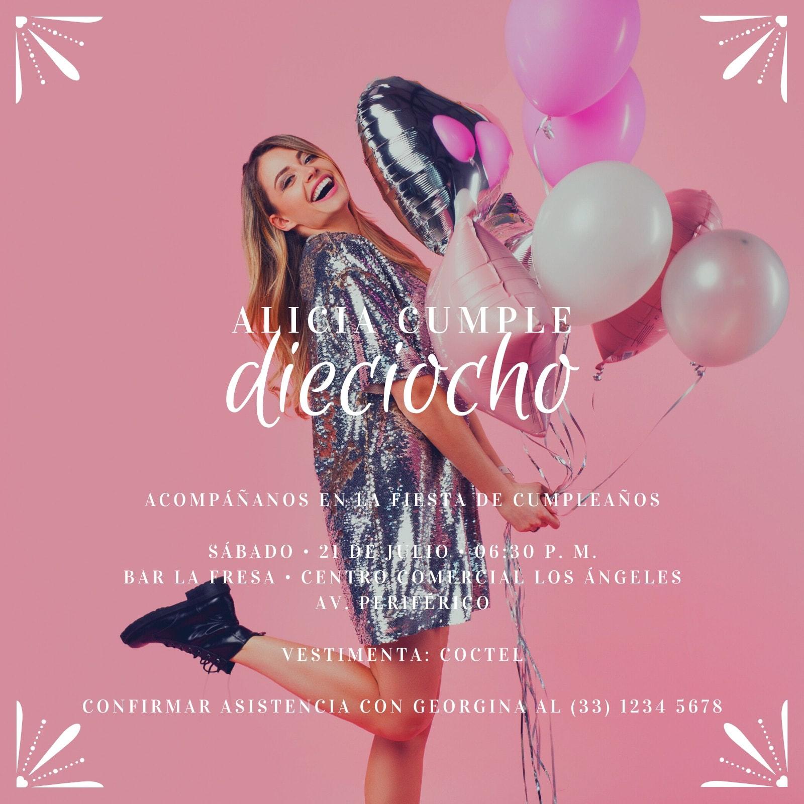 Rosa Globos 18 Cumpleaños Invitación