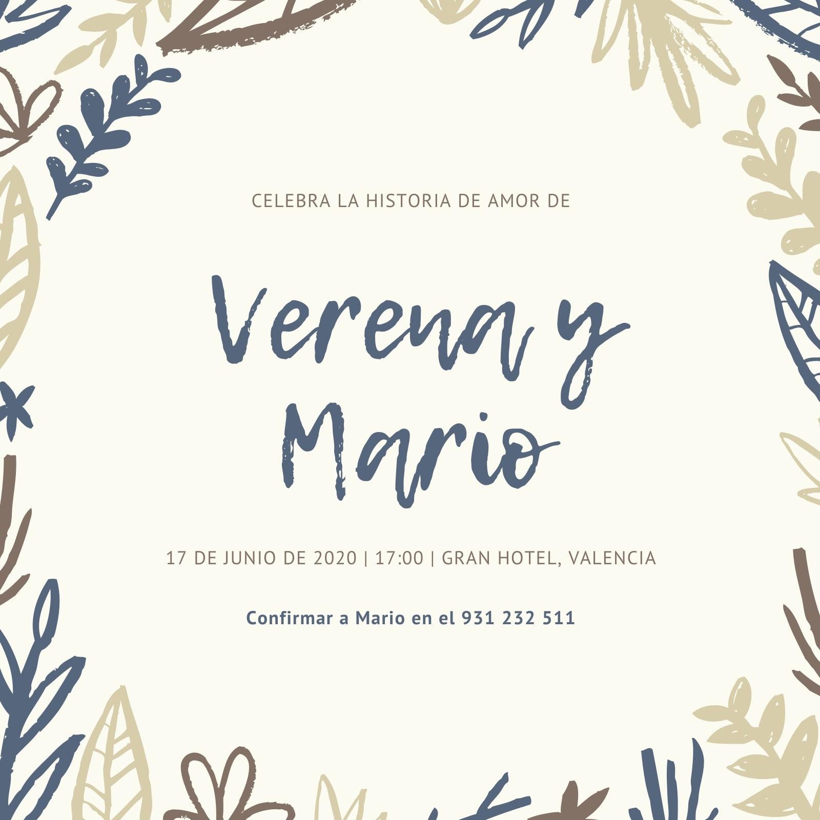Azul Marrón Floral Hojas Rústico Boda Invitación
