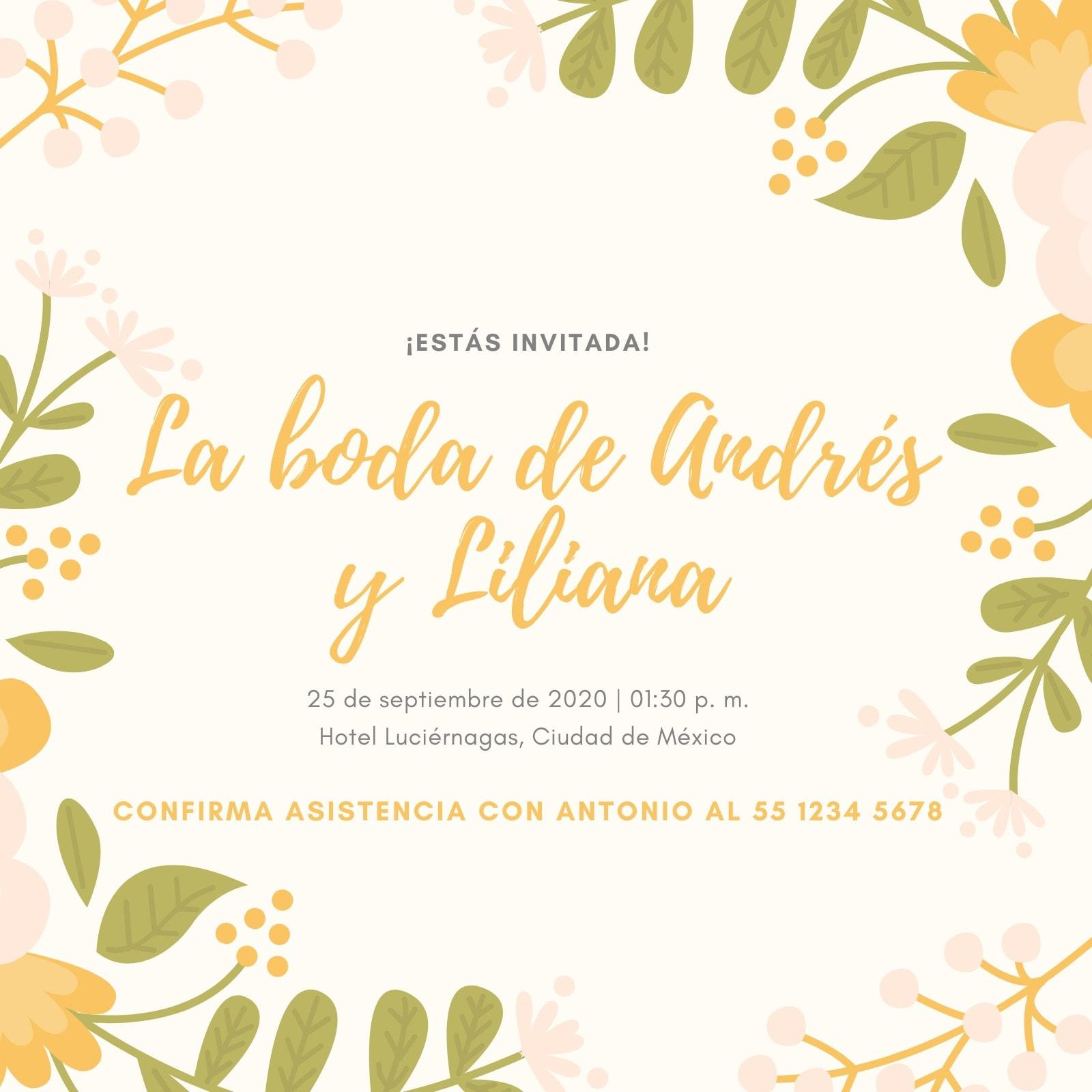 Beige Floral Boda Invitación