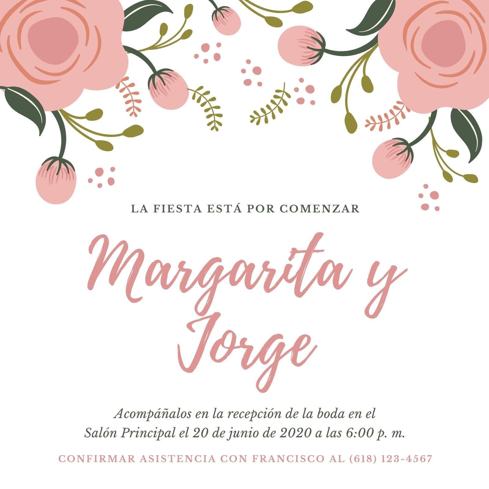 Rosa y Blanco Floral Recepción de Boda Invitación