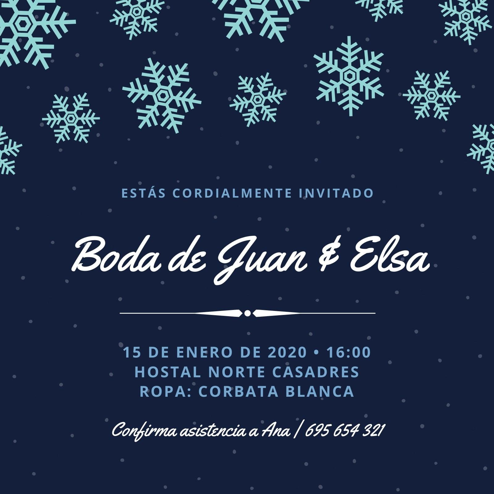 Azul Blanco Puntos Copos de Nieve Boda Invitación