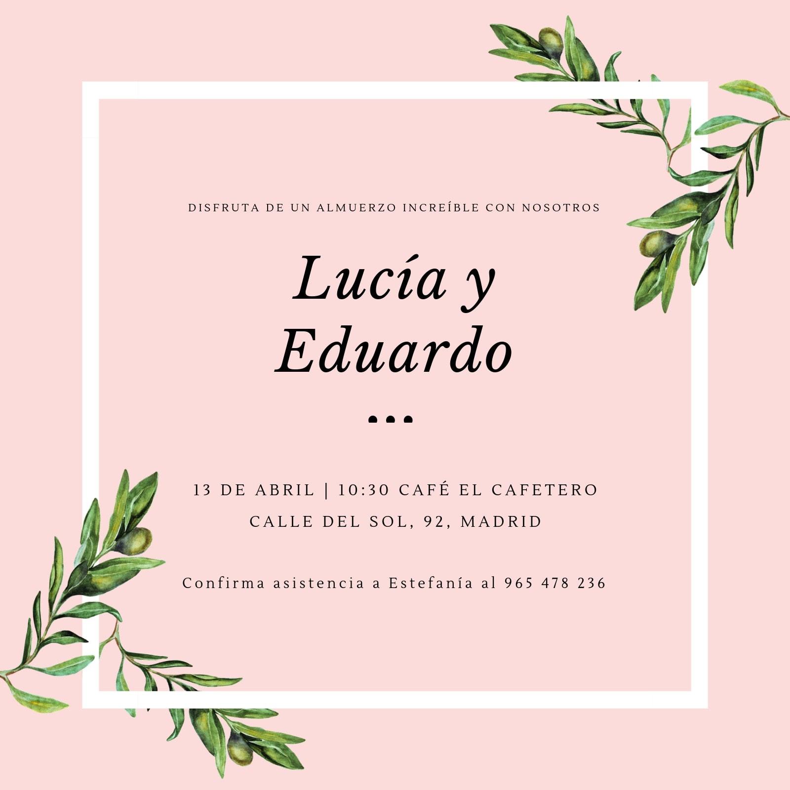 Invitación Boda Almuerzo Rosa Verde Oliva