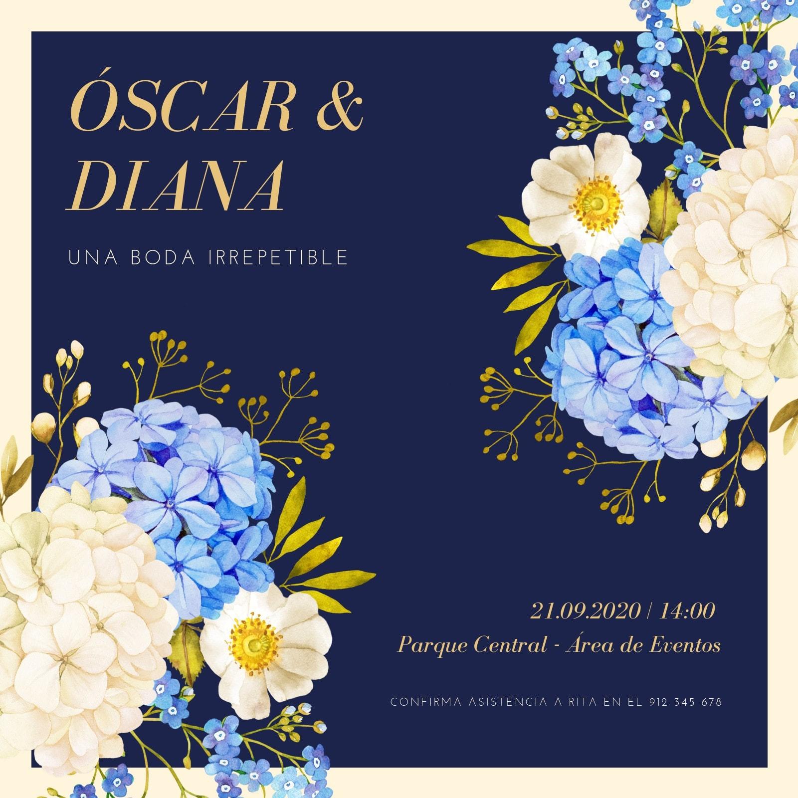 Azul Sencillo Floral Elegante Boda Invitación
