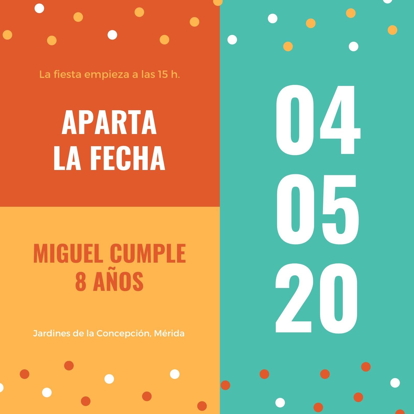 Colorido Bonito Cumpleaños Agenda la Fecha Invitación