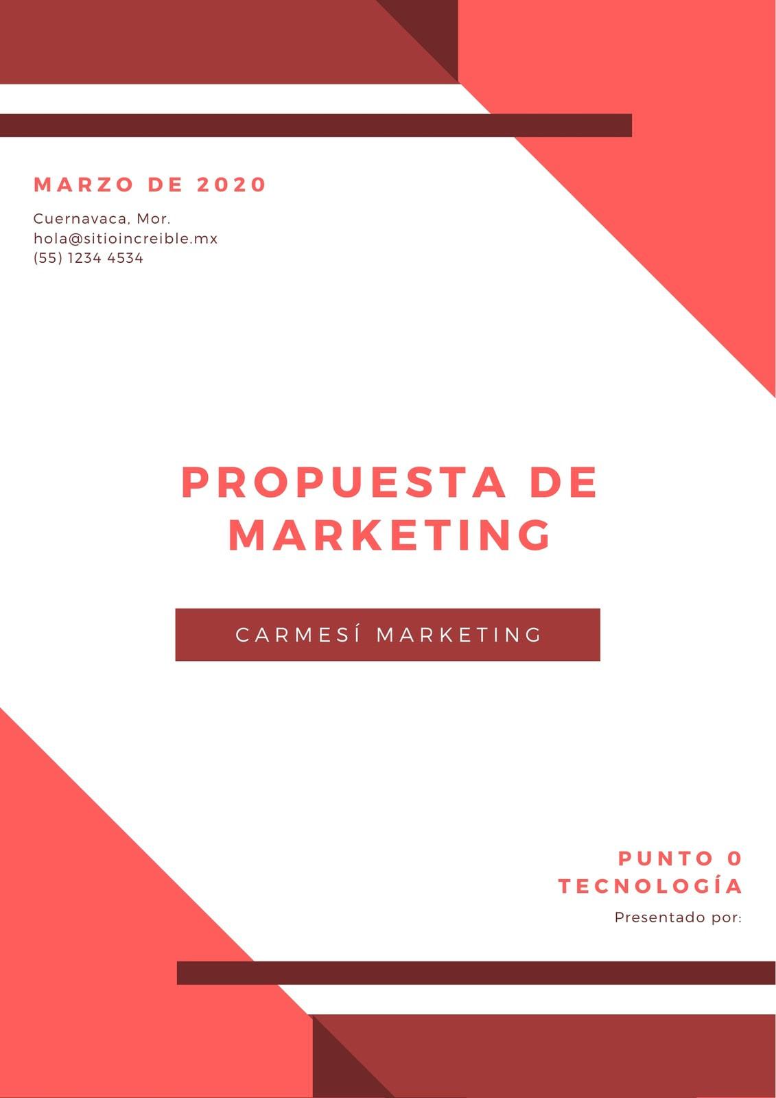 Rojo y Blanco Geométrico Propuesta de Marketing