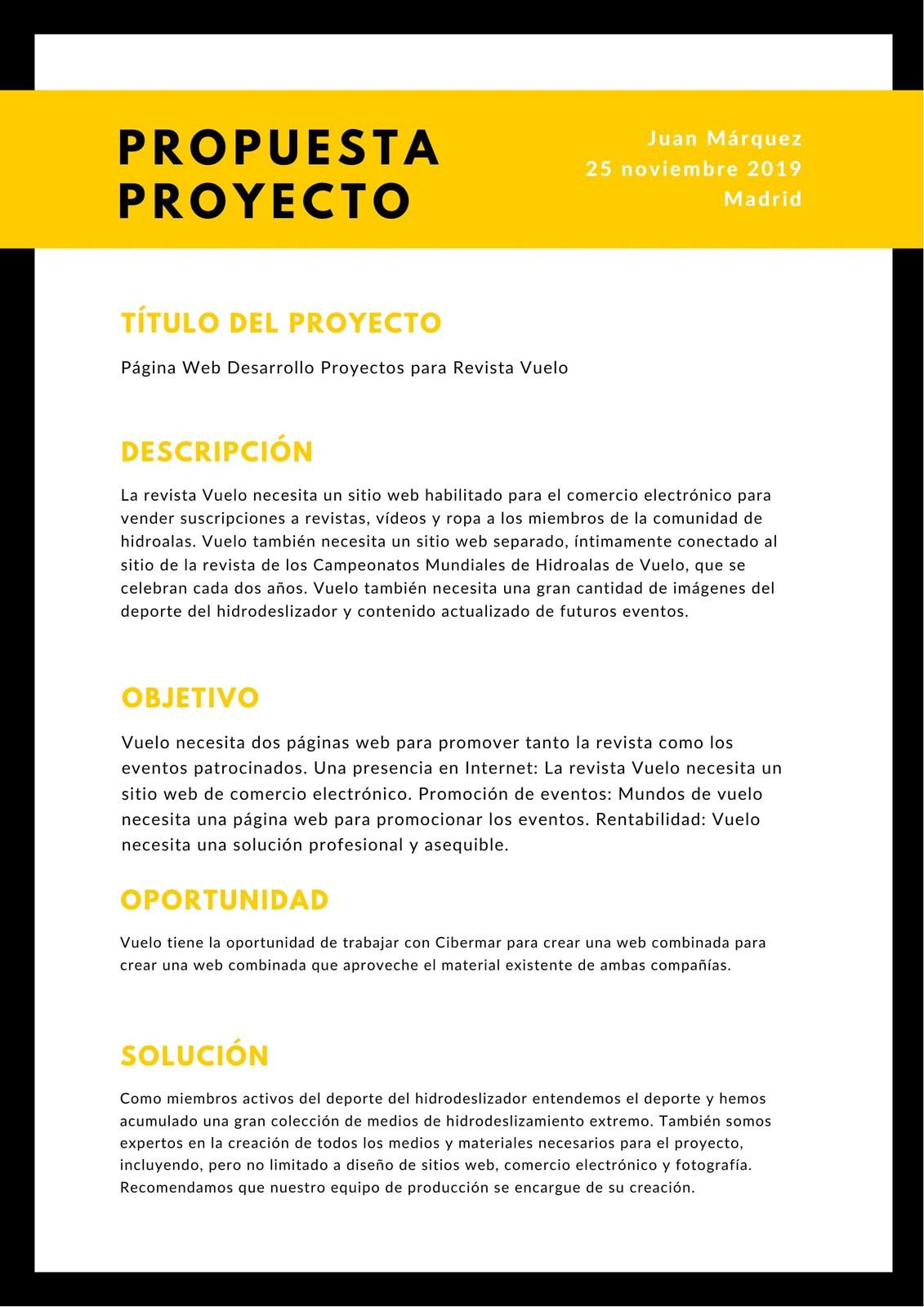 Negro Amarillo Borde Marco Proyecto General Propuesta