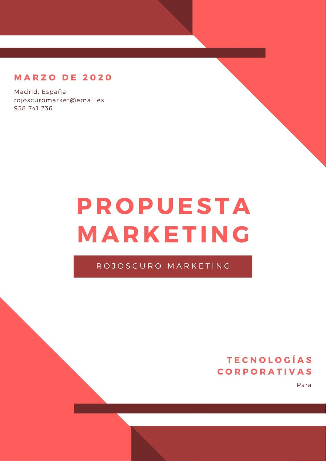 Rojo Blanco Geométrico Propuesta de Marketing