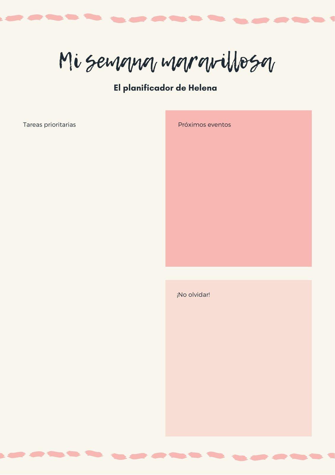 Rosa Moderno Semanal Planificador