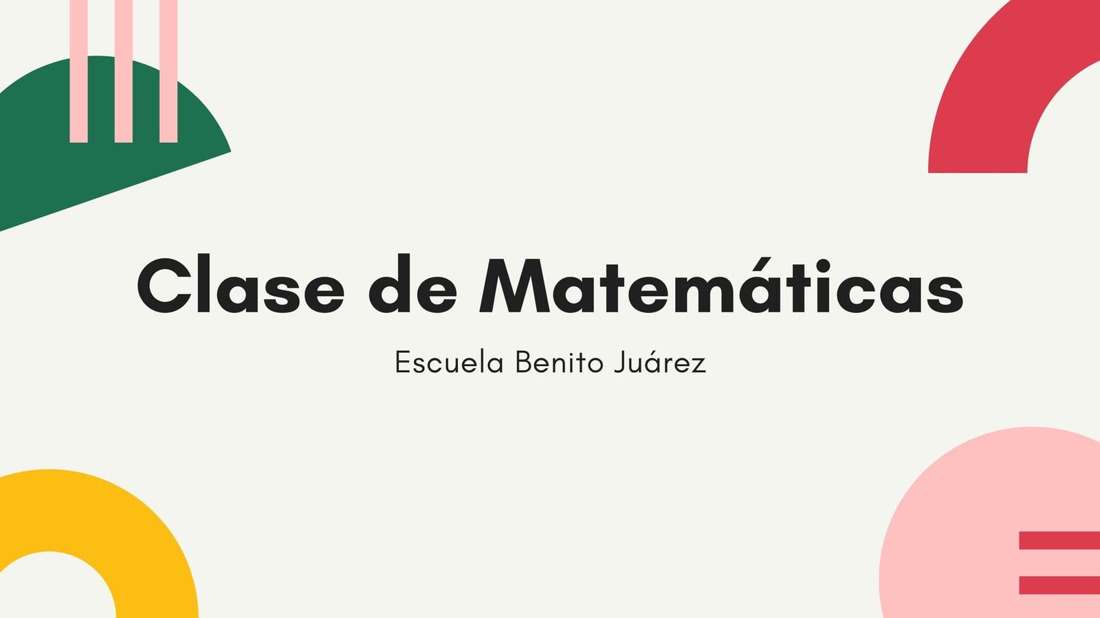 Colorido Geométrico Clase de Matemáticas Educación Presentación