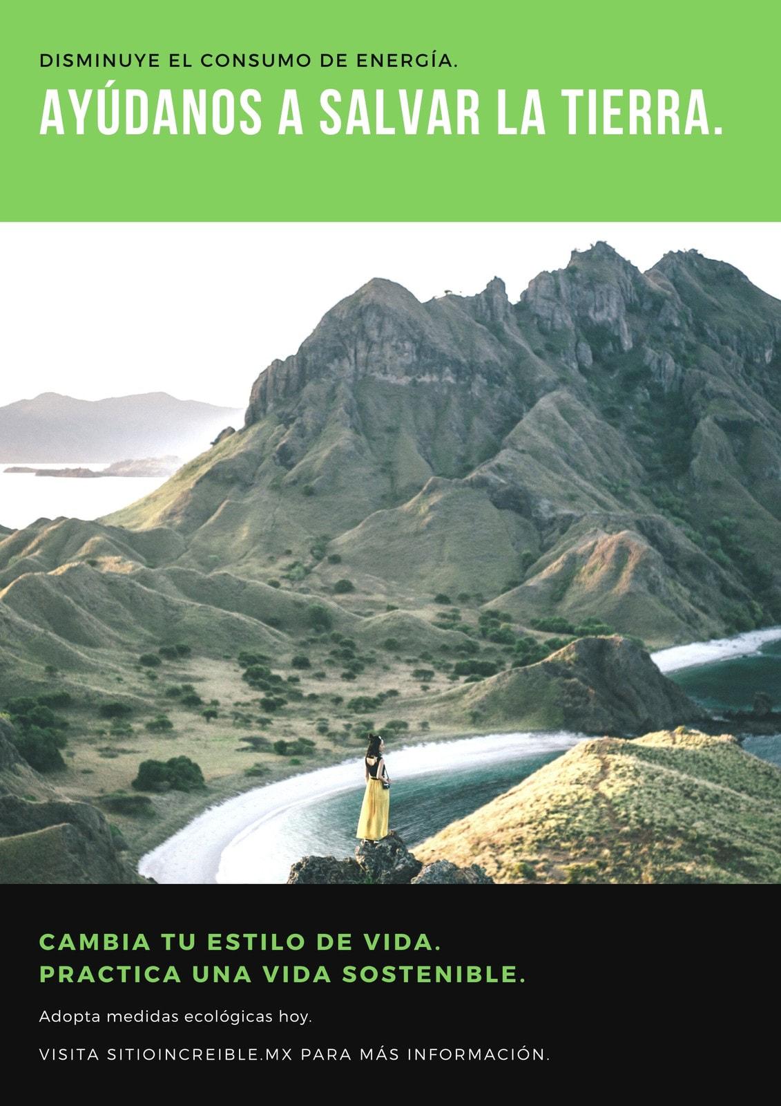Póster de calentamiento global con foto en verde