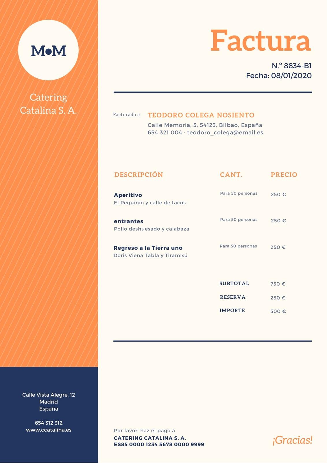 Naranja Azul Estampado Negocio Factura