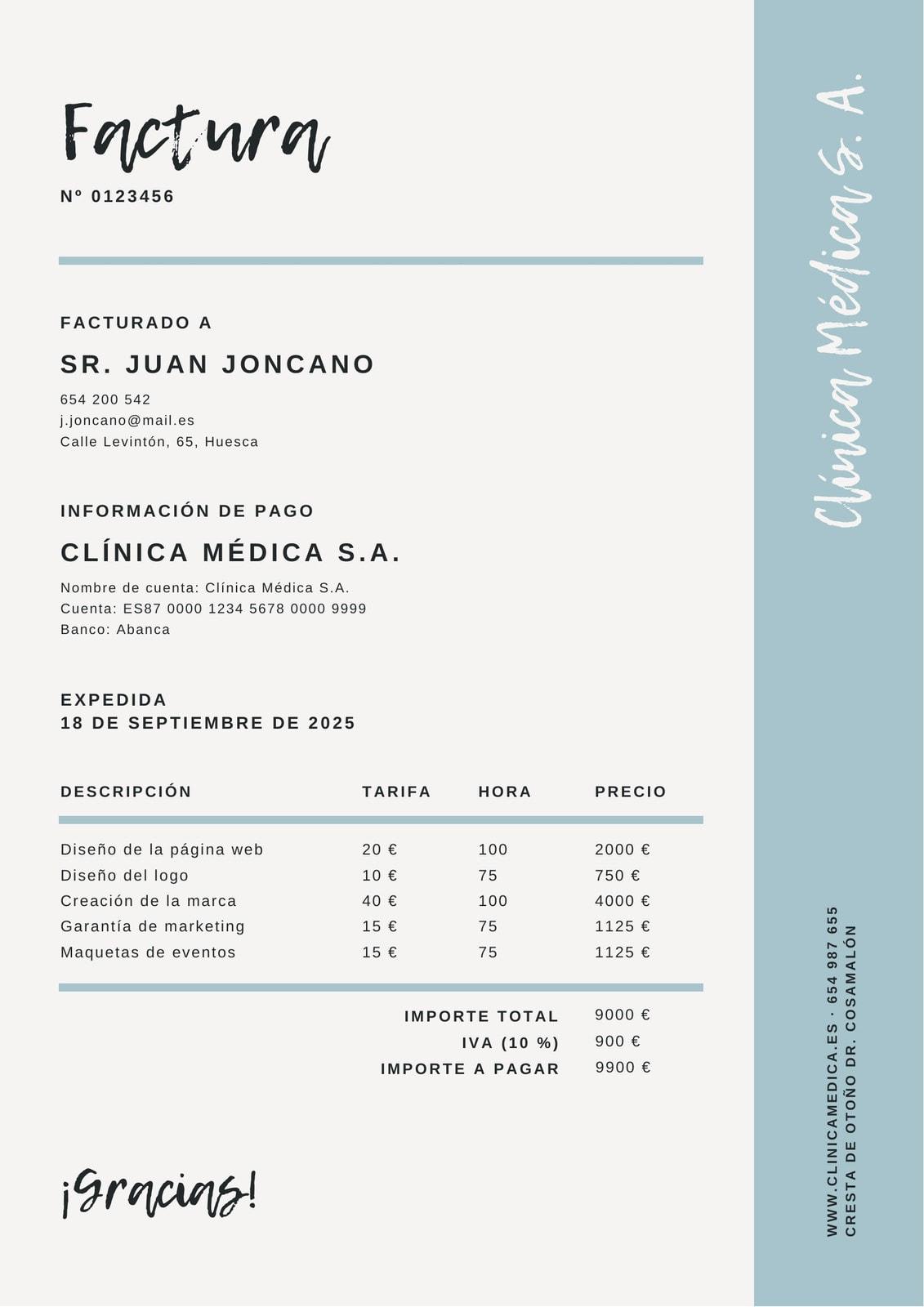 Azul Blanco Línea Borde Comercial Factura
