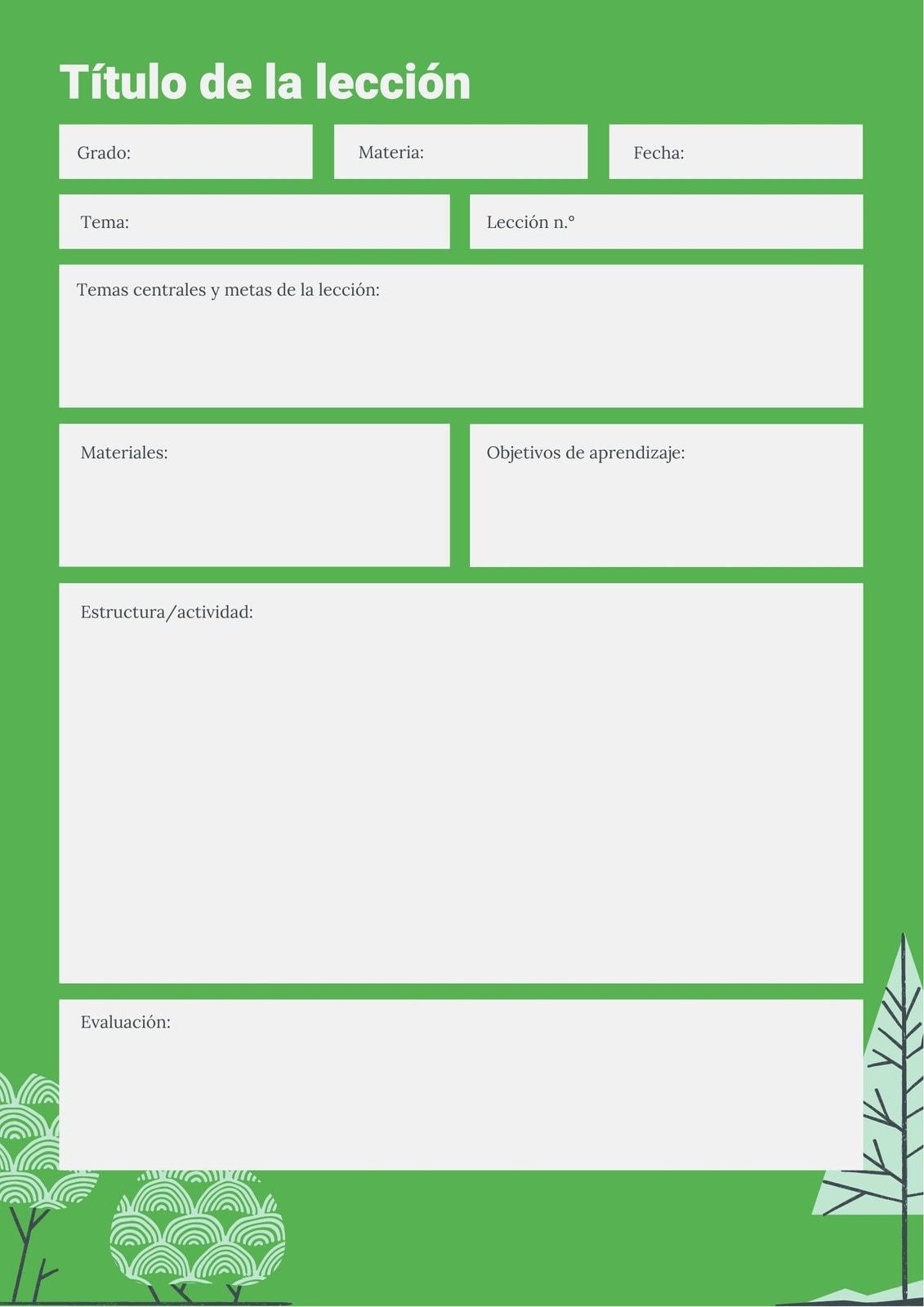 En Blanco Verde Naturaleza Plan de Clase