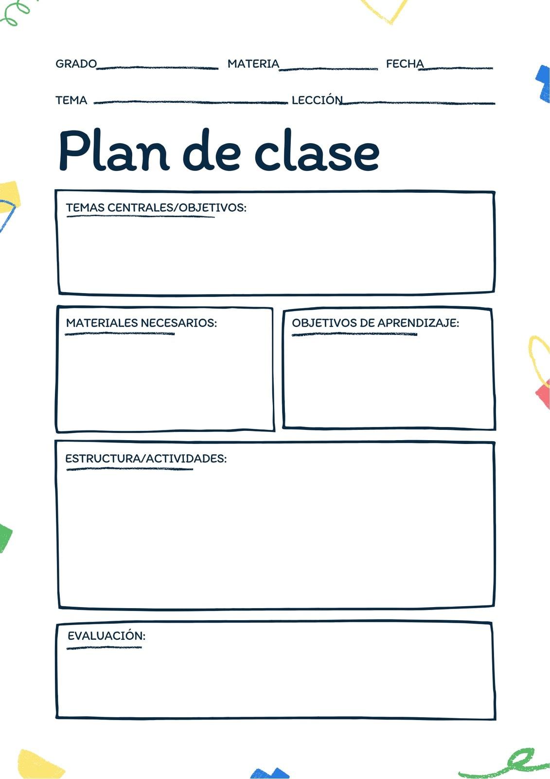 En Blanco Imprimible Blanco y Azul Plan de Clase