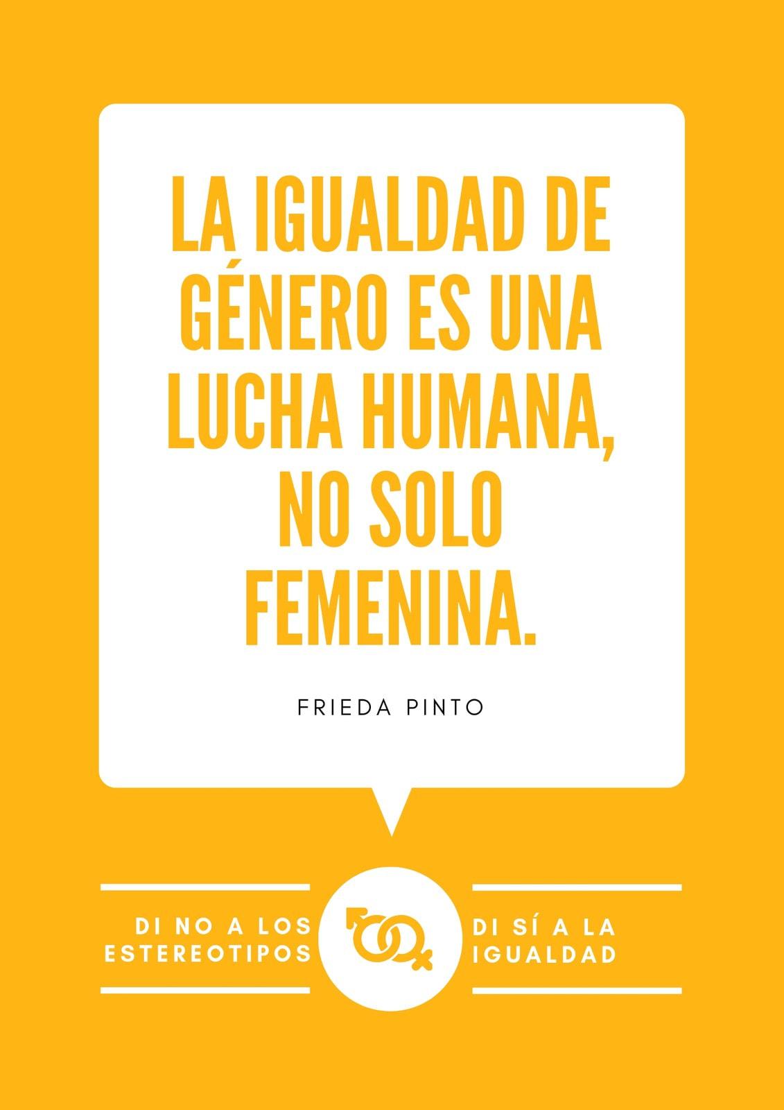 Naranja Bocadillo con Texto Cita sobre Igualdad de Género Póster