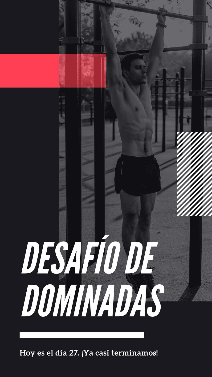 Negro Rojo Rayas Fitness Influencer Asimétrico Historia Instagram Conjunto