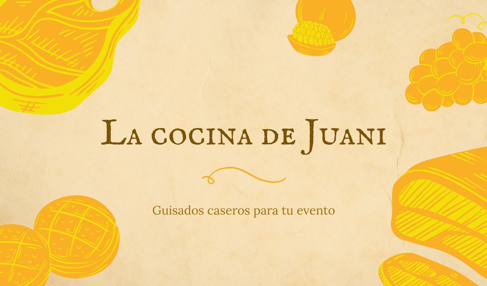 Restaurante casero tradicional mexicano con ilustración de alimentos con fondo naranja Tarjeta de presentación