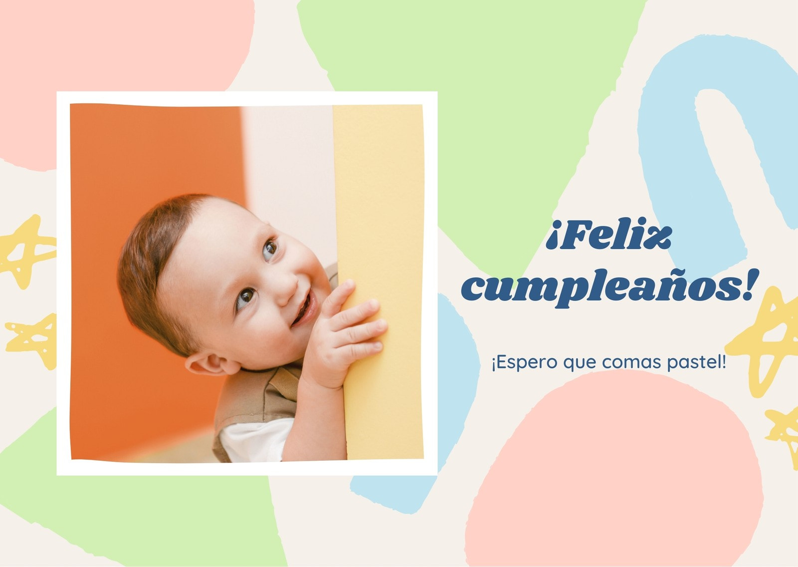 Colorido Foto de Bebé Pasteles Dinámicos Cumpleaños Tarjeta