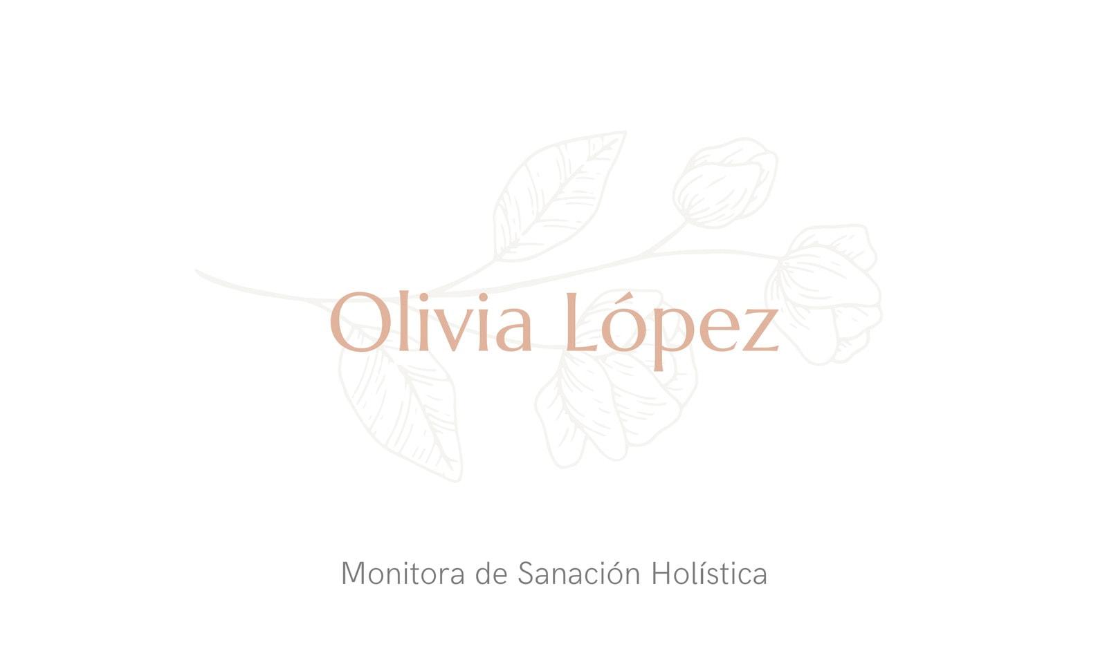 Crema Blanco Elegante Monitor Sanación Tarjeta de Visita
