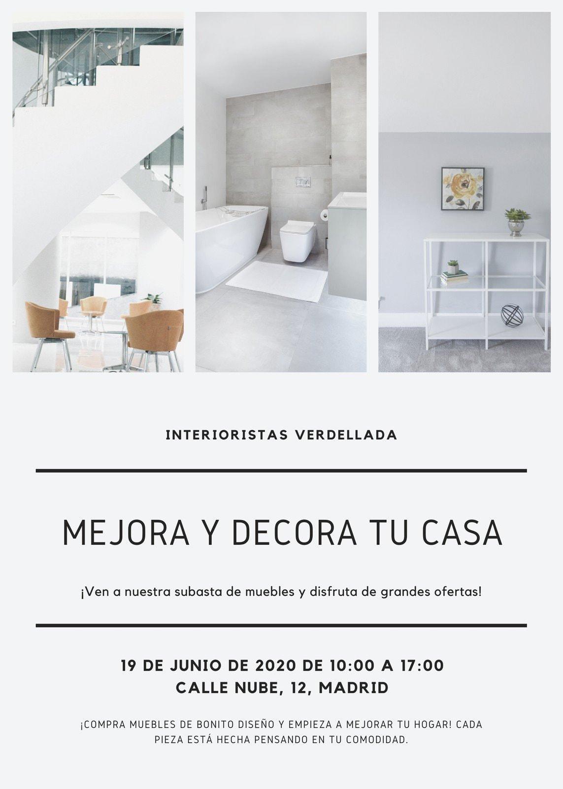 Folleto de Producto Foto Interior Minimalista Blanco