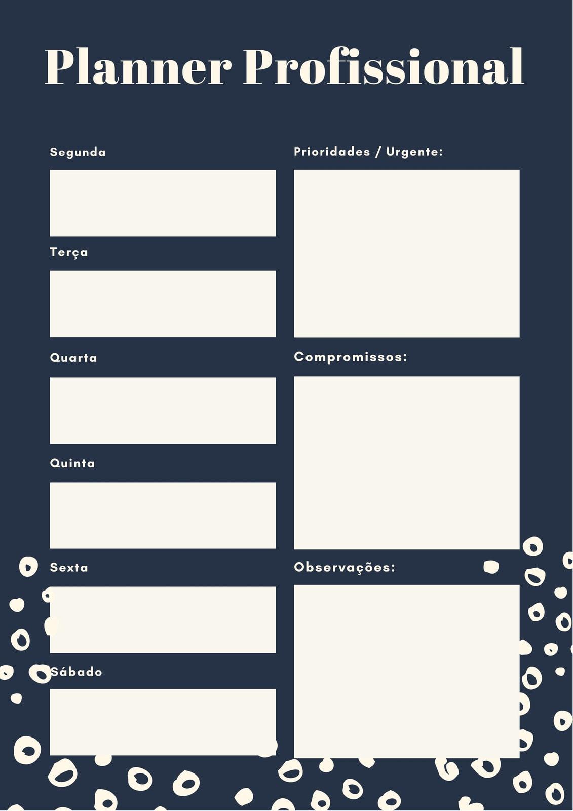 Azul Desenho Agenda Profissional Planejador