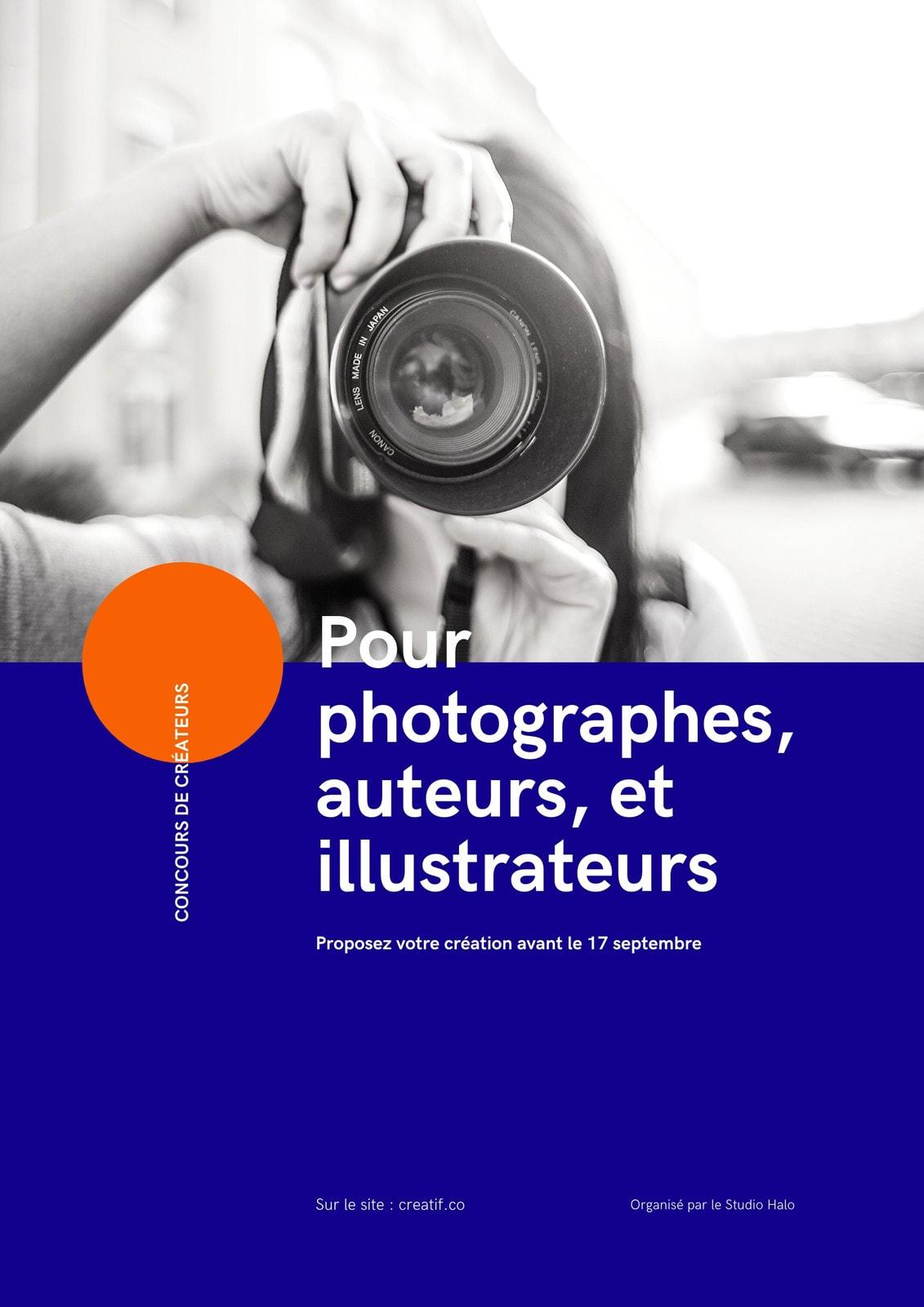 Poster montage photo et design graphique bleu