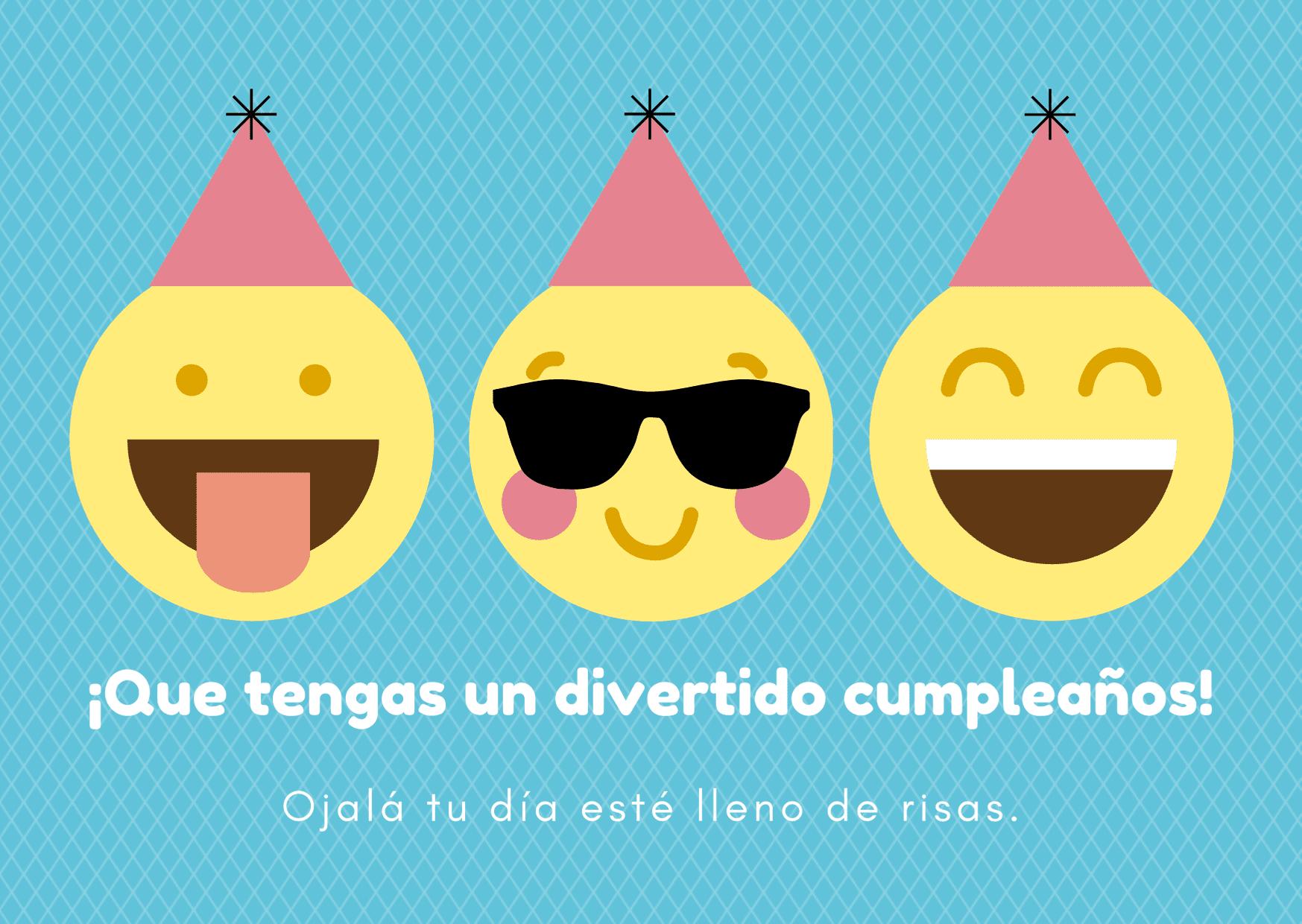 Azul con Emoticonos y Gorros Rosas Cumpleaños Tarjeta