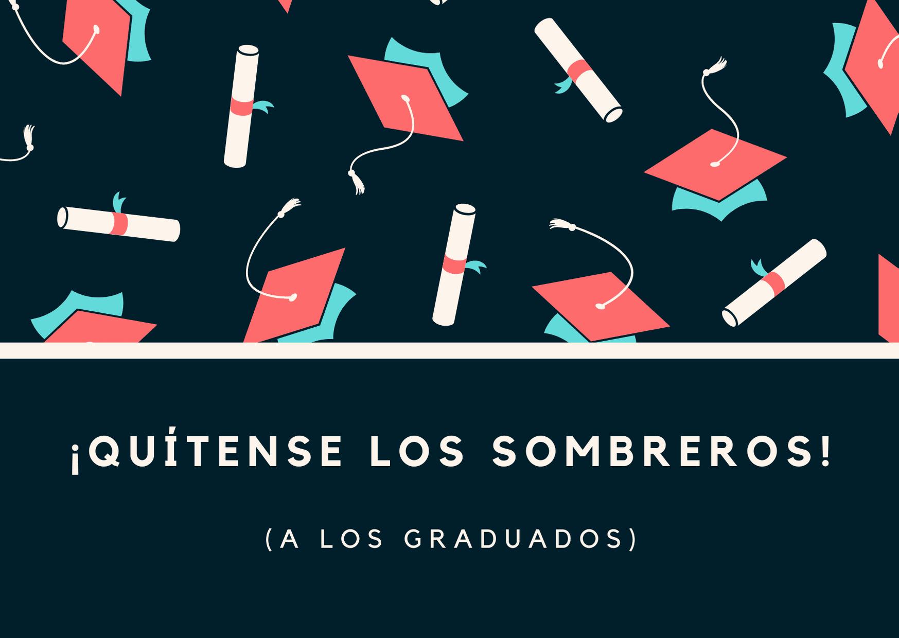 Patrón con Gorros y Diplomas Graduación Tarjeta
