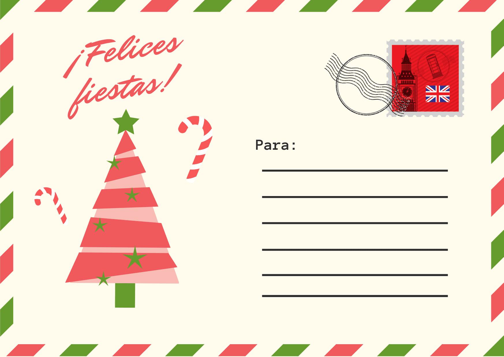 Rojo y Verde Postal Navidad Postal