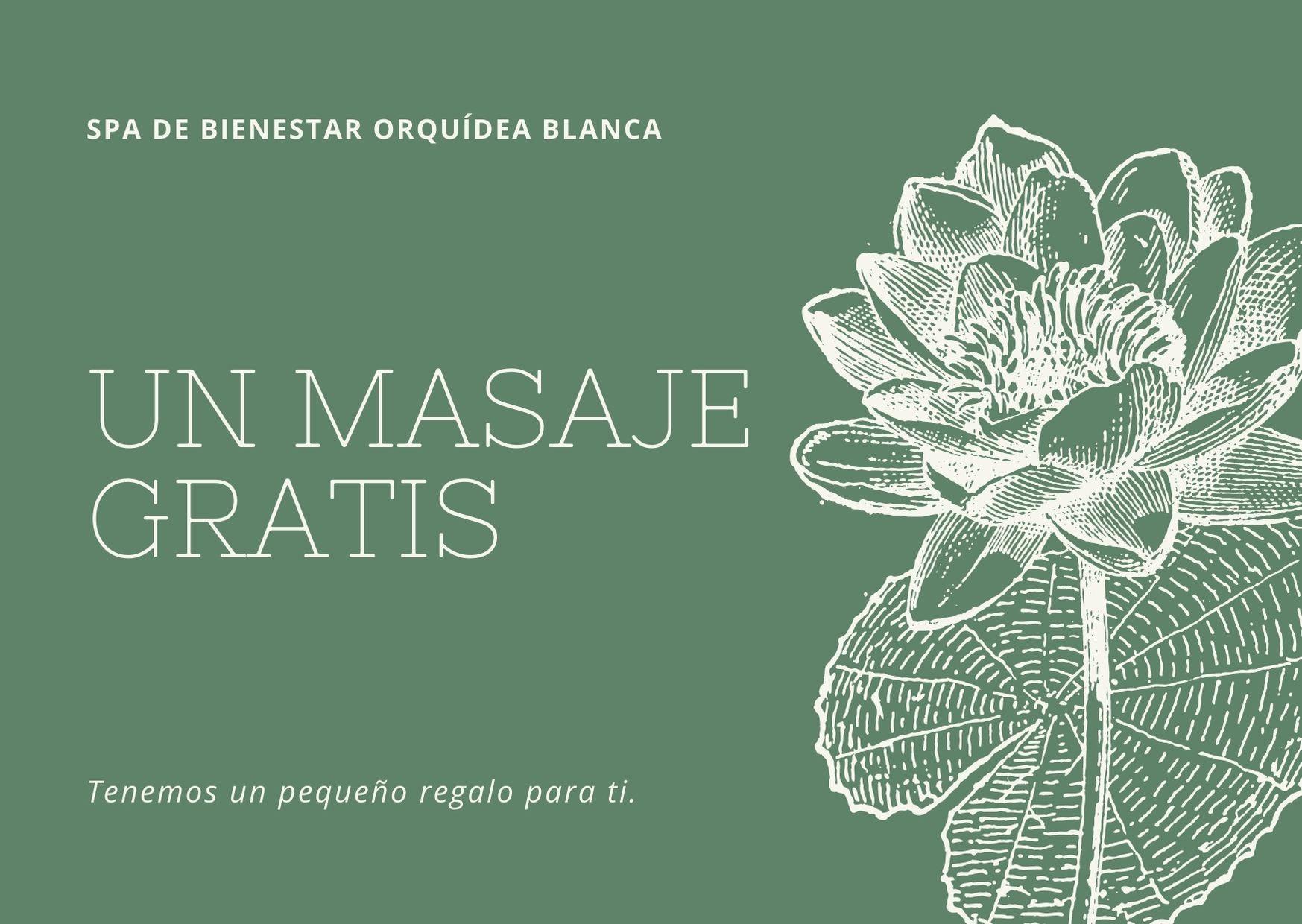 Verde Oliva Vintage Flor Masaje Certificado de Regalo
