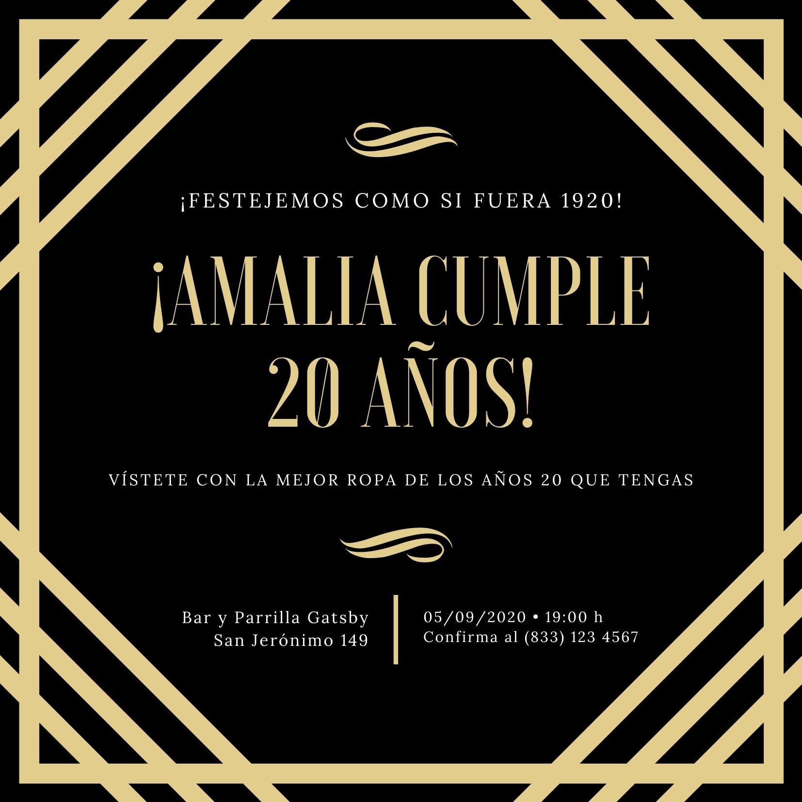 Negro Dorado Borde Lujoso Elegante Fiesta de los Años 20 Invitación